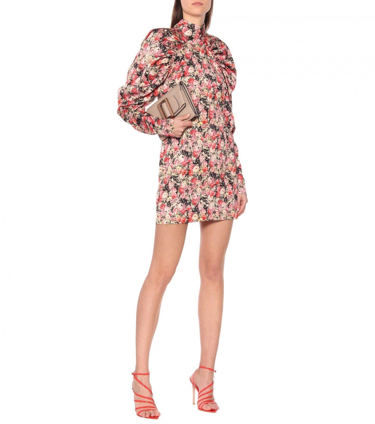 ROTATE BIRGER CHRISTENSEN Kim Aop Floral Satin Mini Dress
