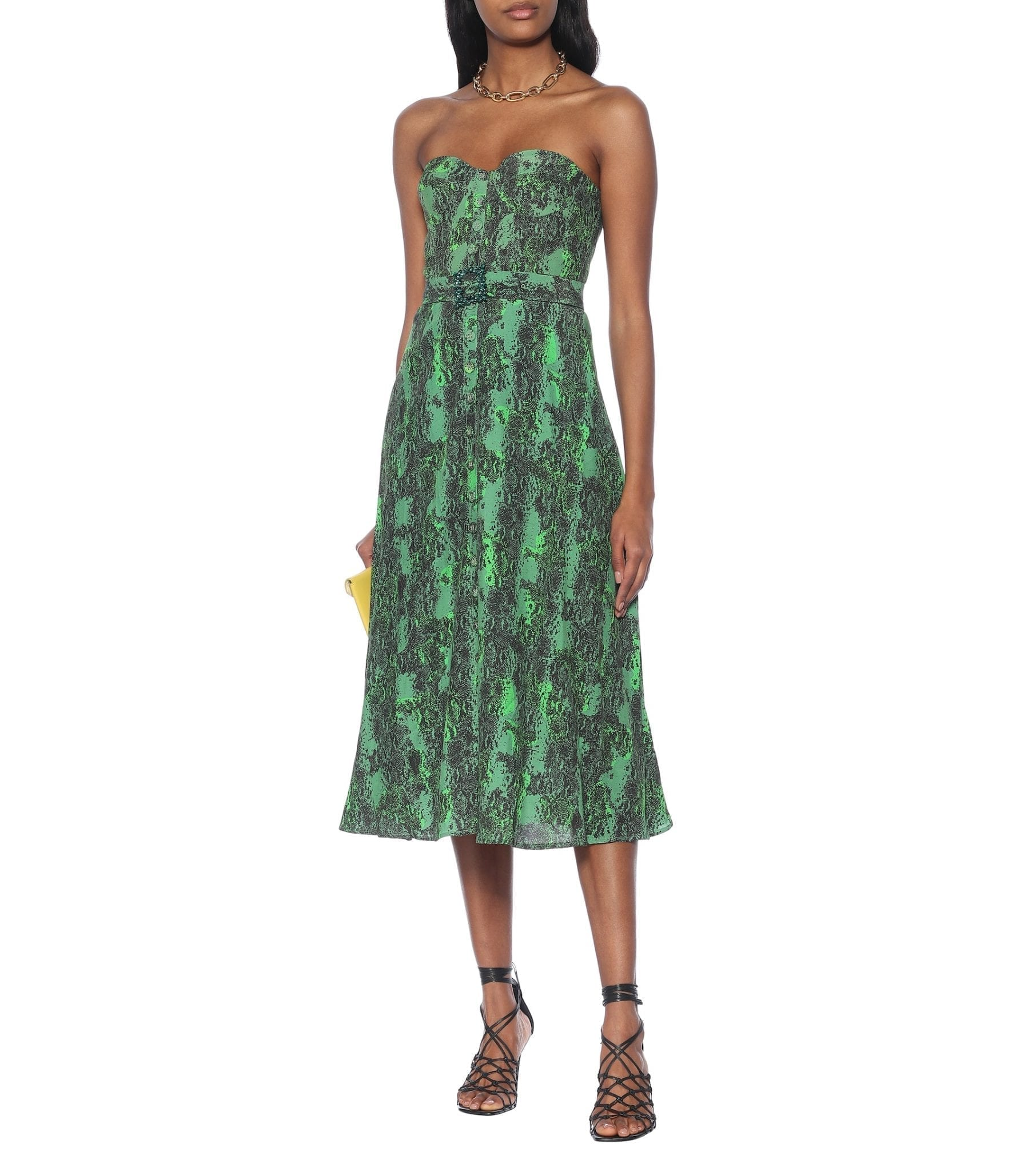 ROTATE BIRGER CHRISTENSEN Peggy Printed Bustier Midi Dress