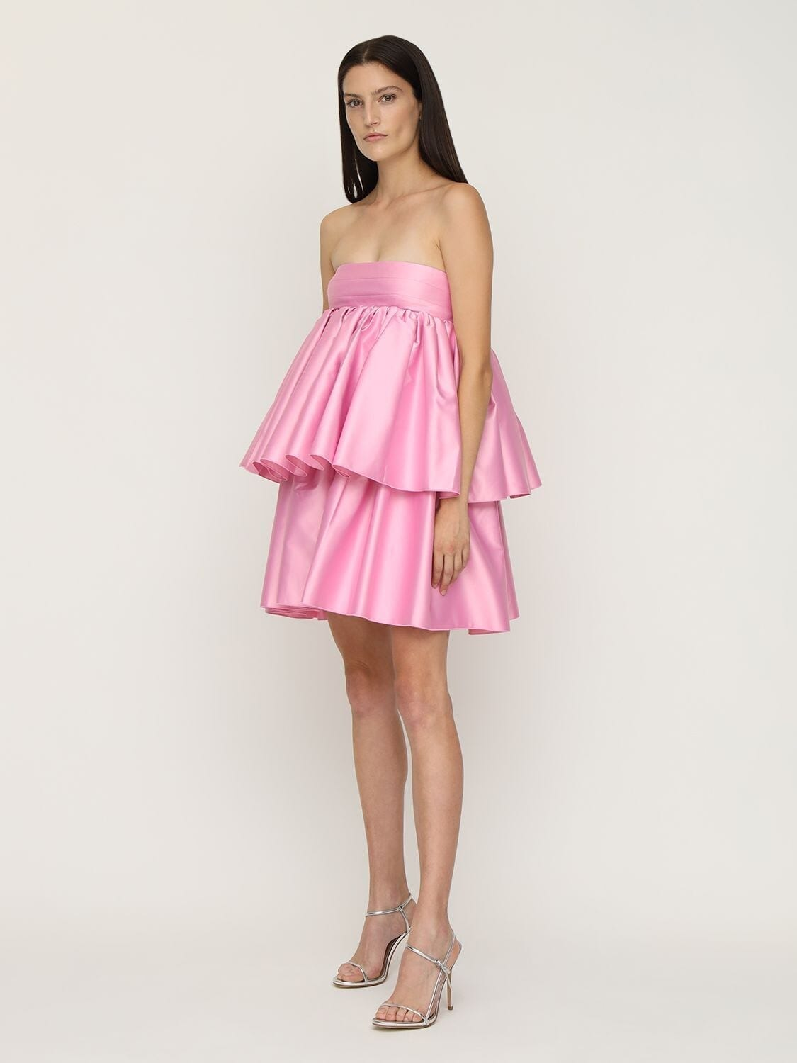 ROTATE Carmina Ruffled Satin Mini Dress