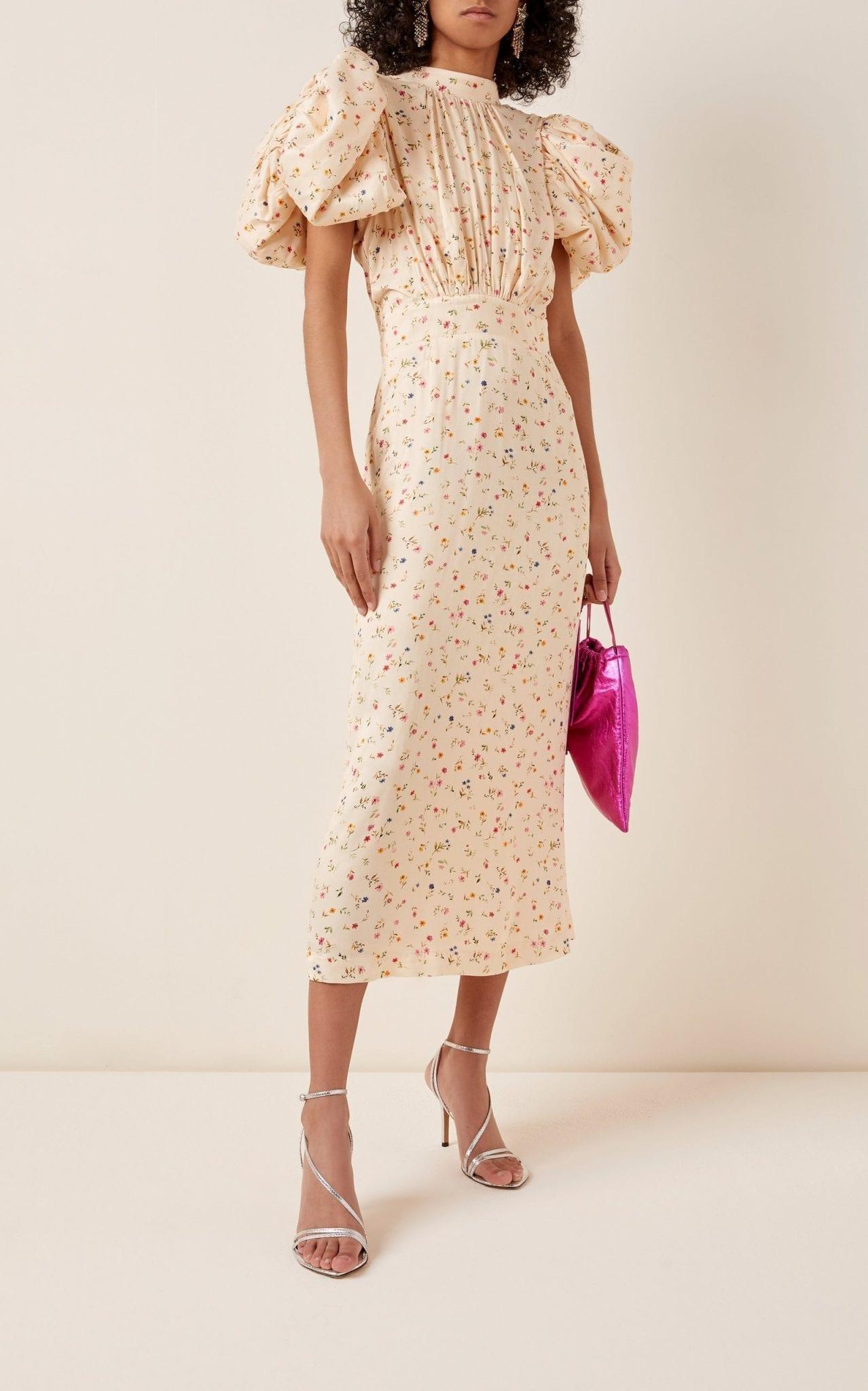 ROTATE Dawn Floral Puff-Sleeve Midi Dress