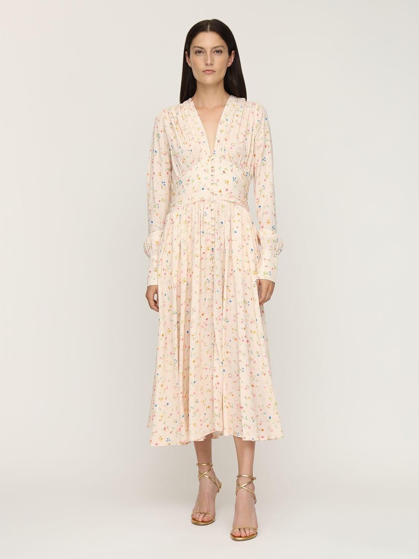ROTATE Tracy Floral Print Viscose Midi Dress