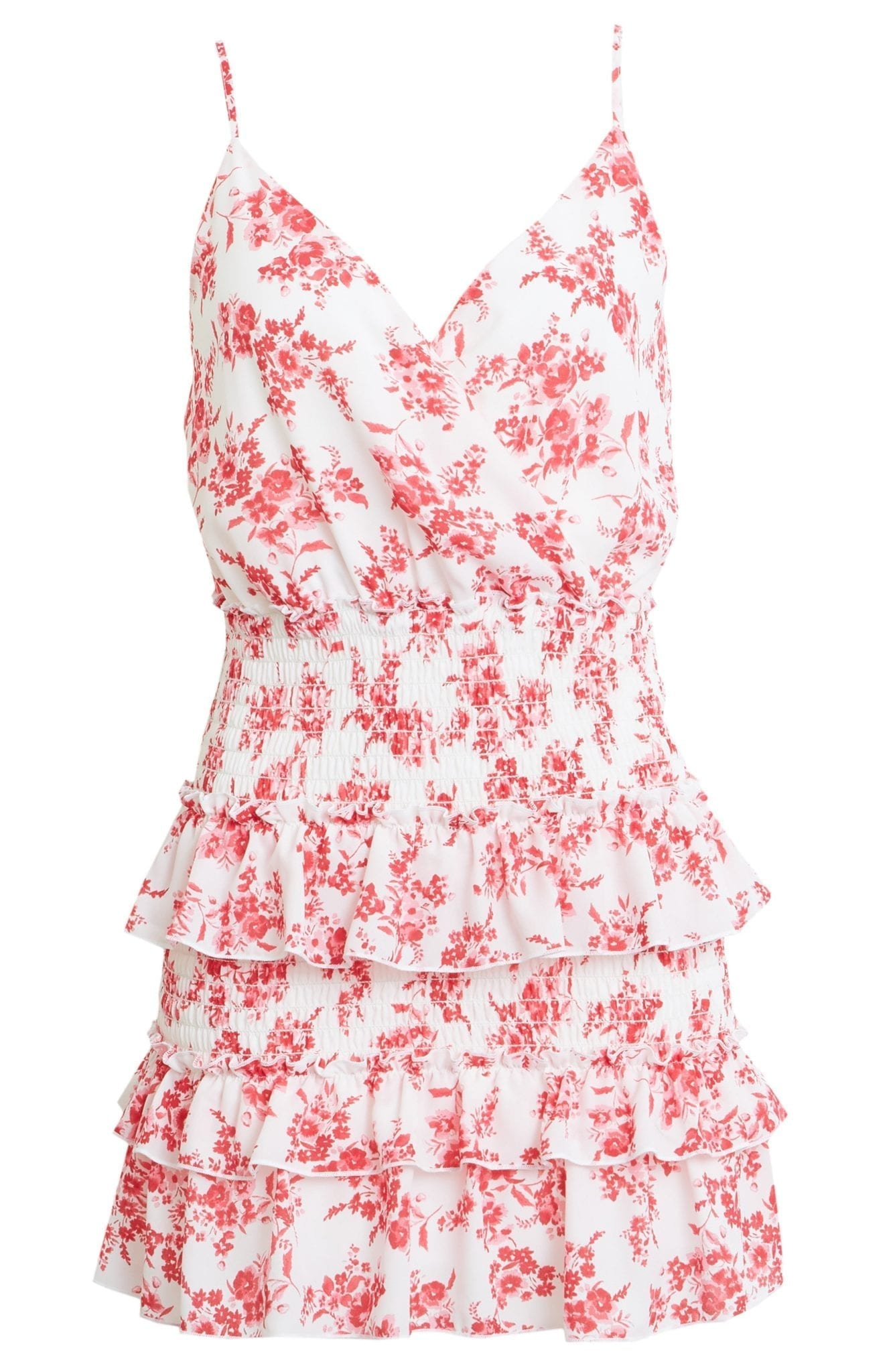 ROW A Floral Tiered Mini Dress