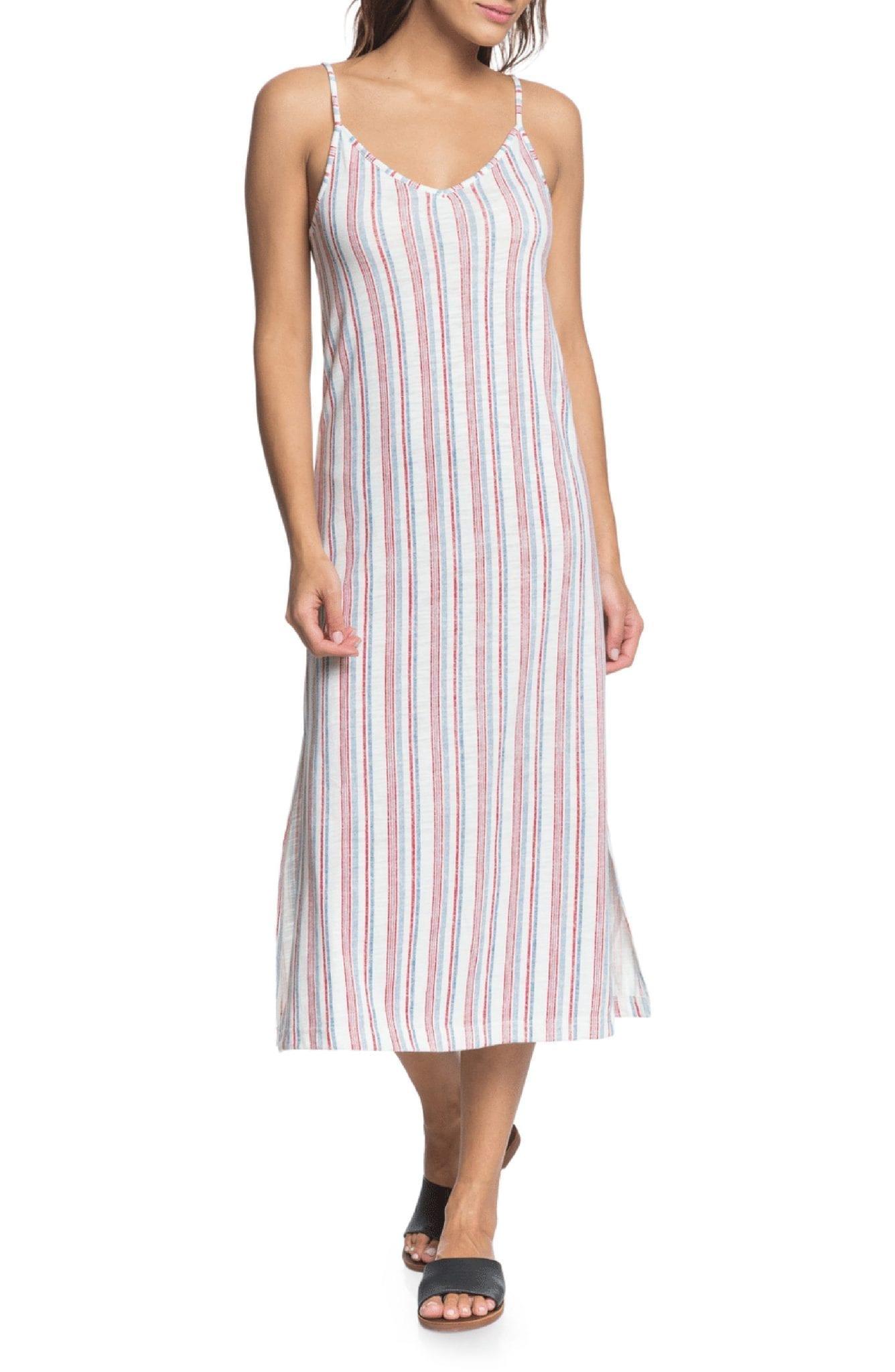 ROXY Avila Beach Stripe Sleeveless Midi Dress