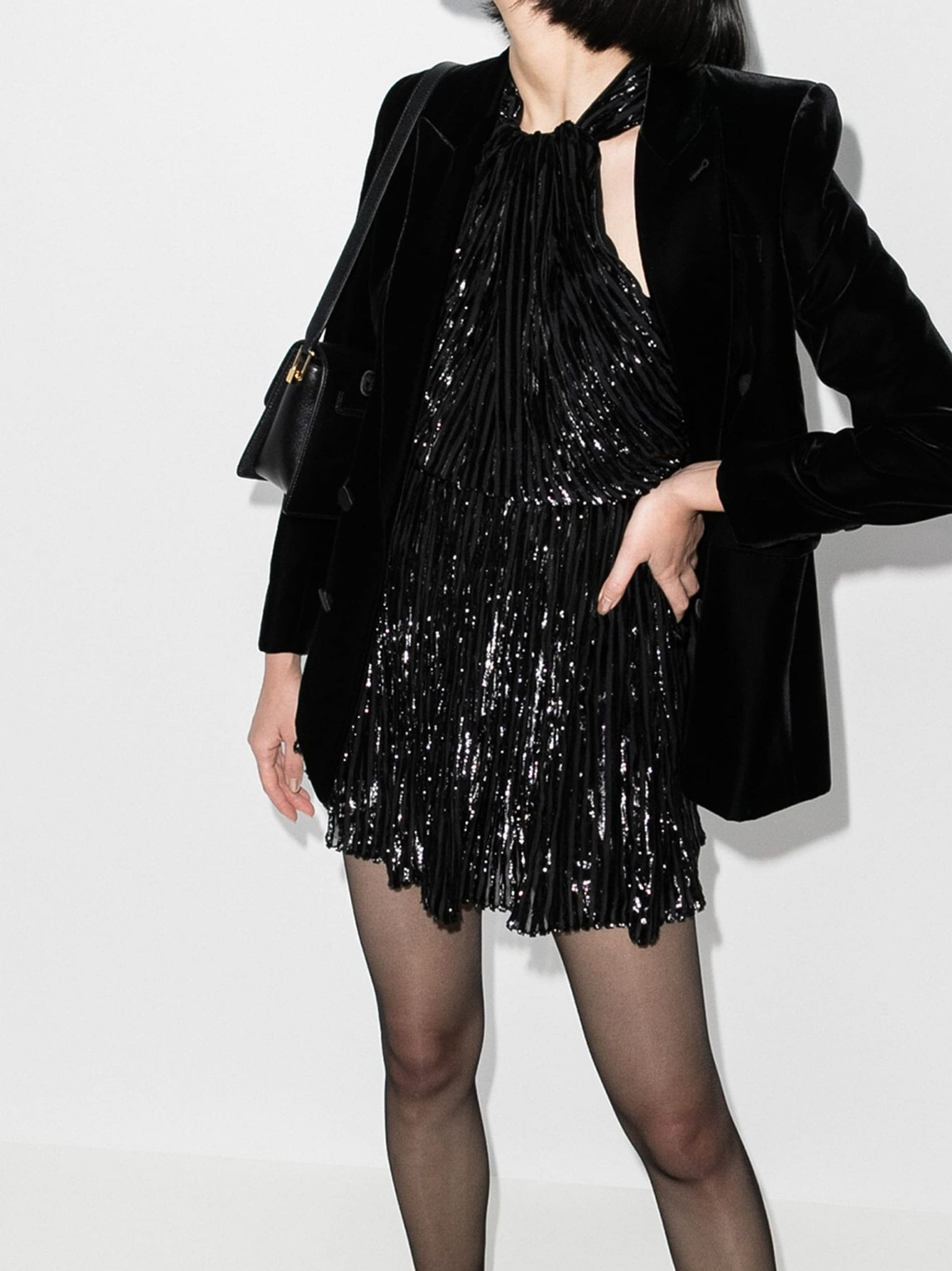 SAINT LAURENT Lamé Velvet Mini Dress