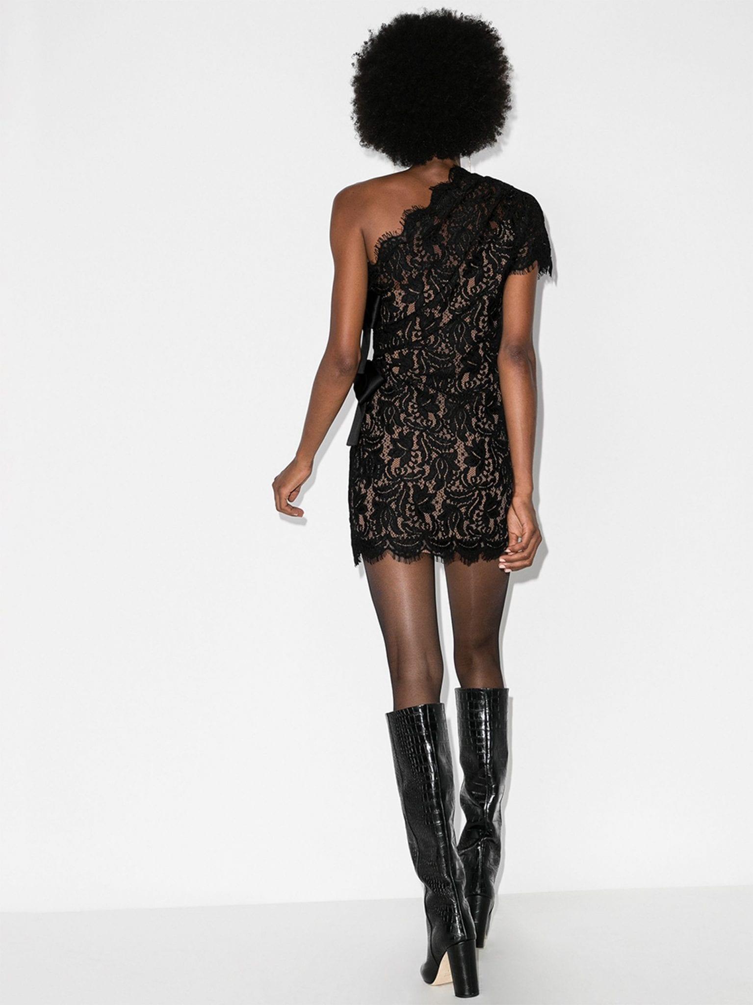 SAINT LAURENT One Shoulder Lace Dress