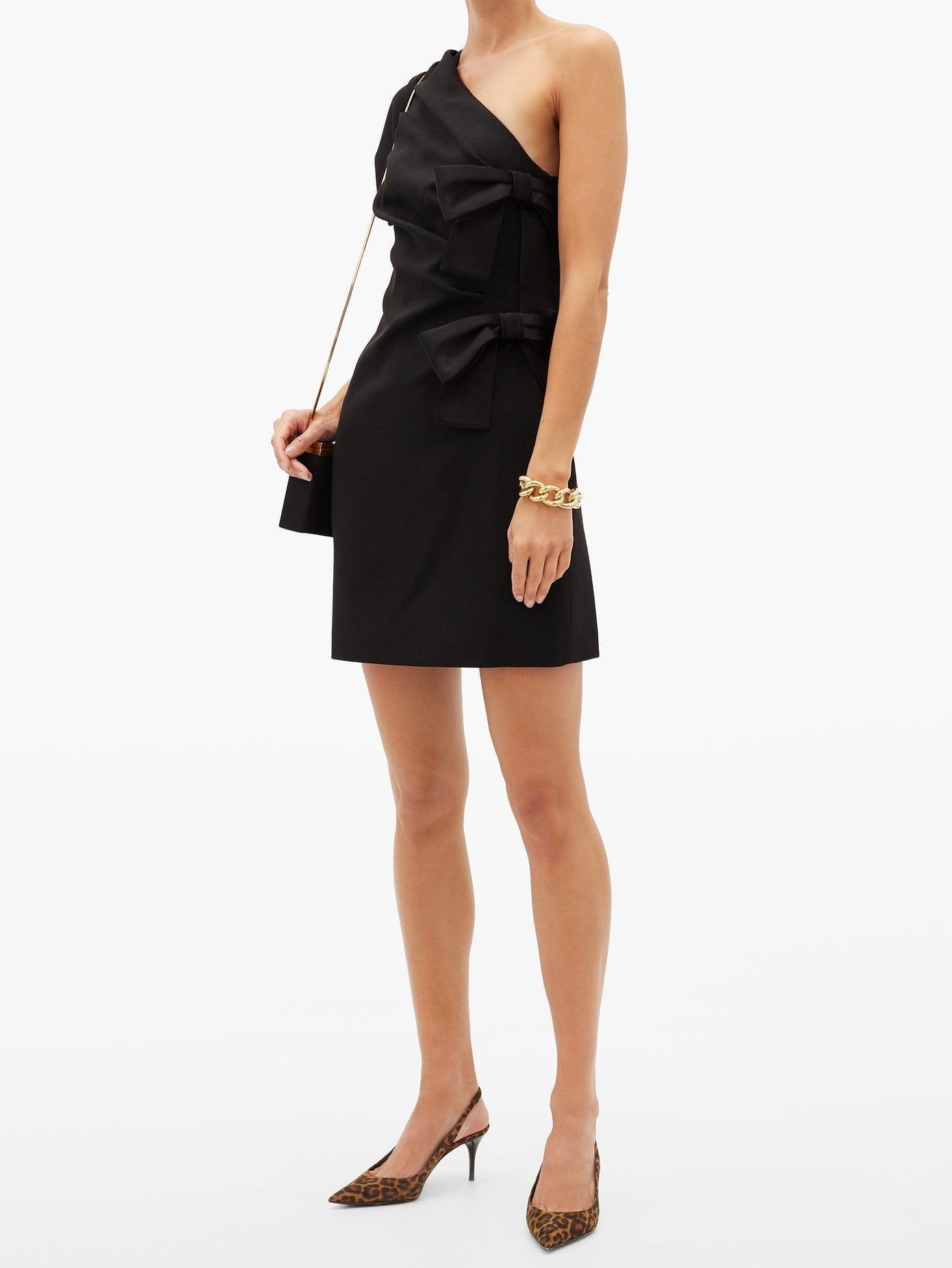 SAINT LAURENT One-shoulder Bow-tied Satin Mini Dress