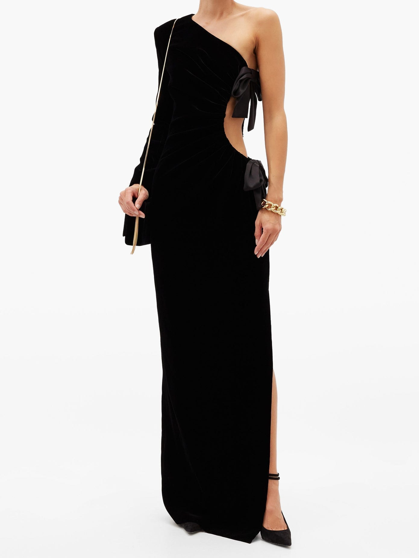 SAINT LAURENT One-shoulder Velvet Gown
