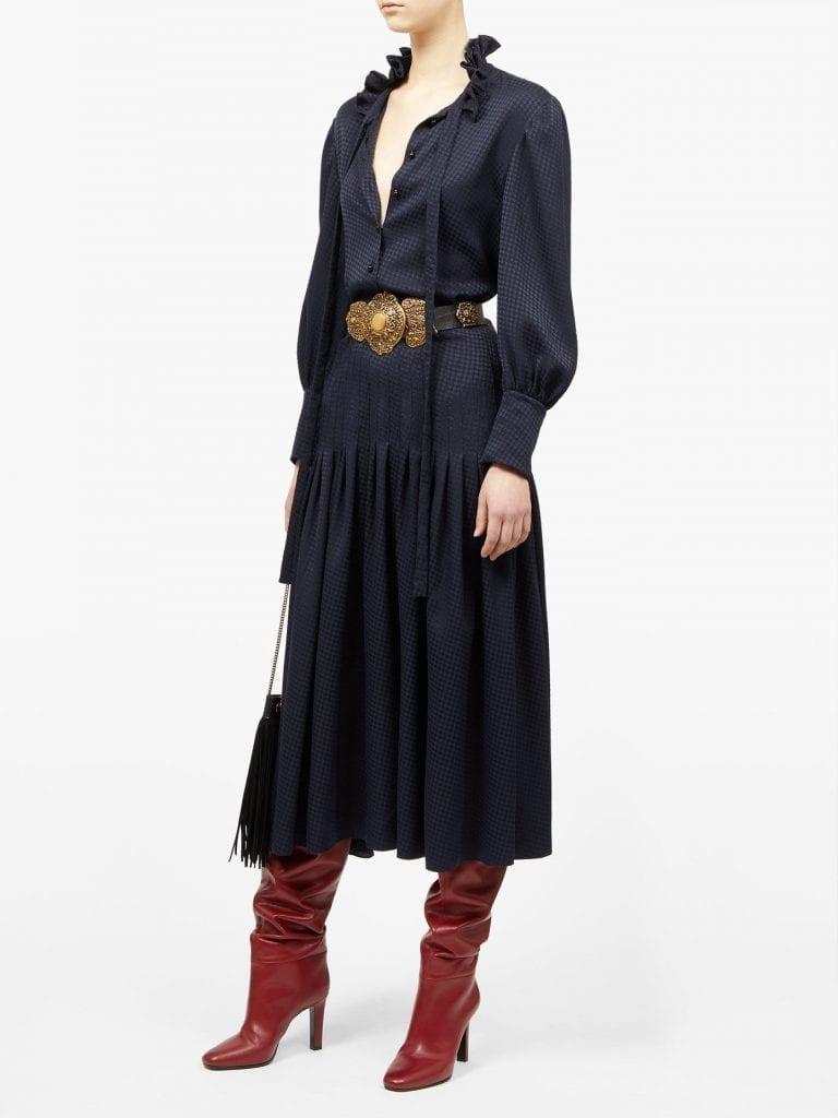 SAINT LAURENT Pussy-bow Houndstooth-jacquard Shirt Dress