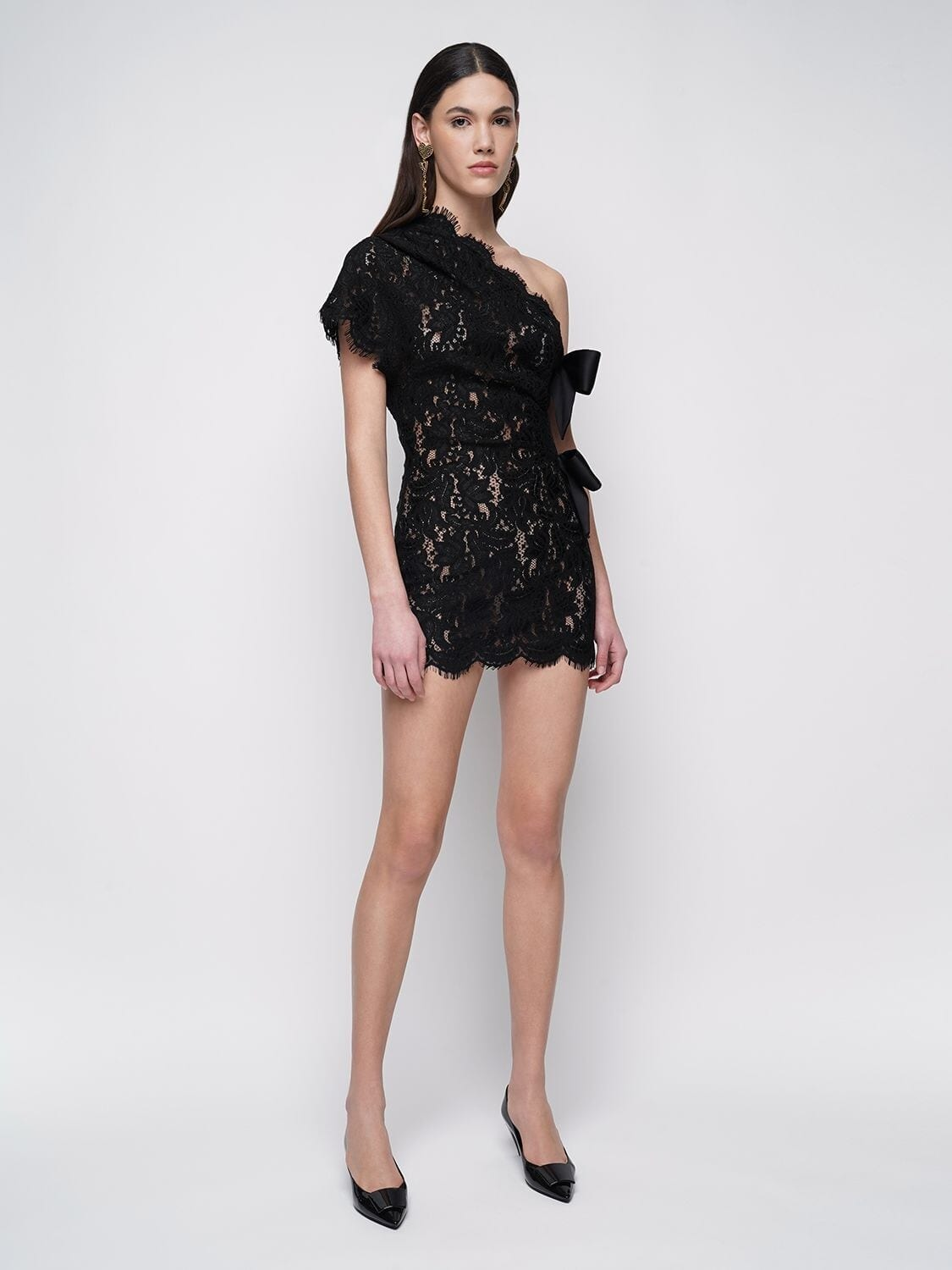 SAINT LAURENT Sheer Lace One-shoulder Mini Dress