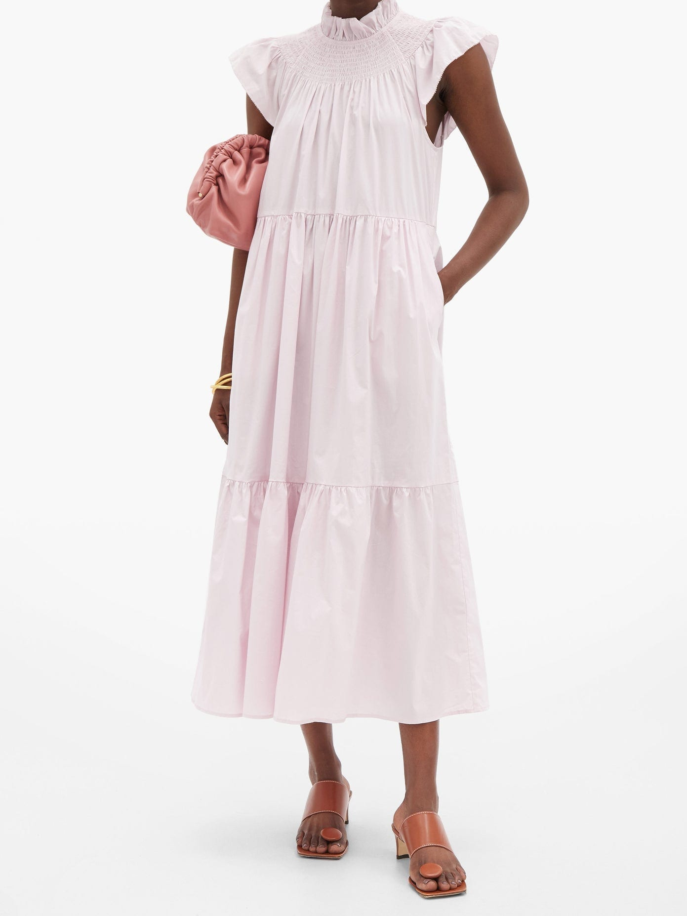 SEA Marlene Shirred-yoke Cotton-blend Poplin Dress
