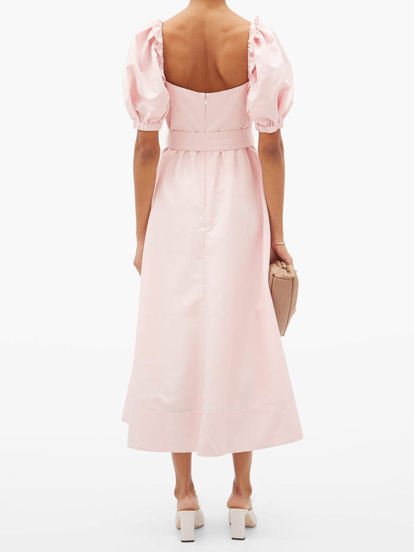 SELF-PORTRAIT Belted Puff-sleeve Taffeta Midi Dress