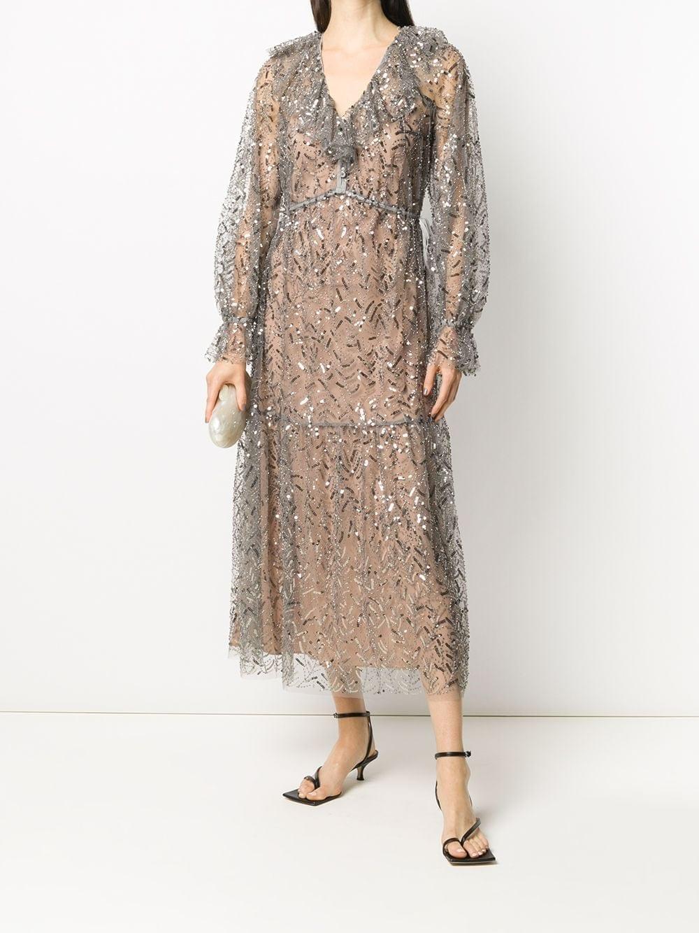 SELF-PORTRAIT Embellished Empire Line Midi Dress