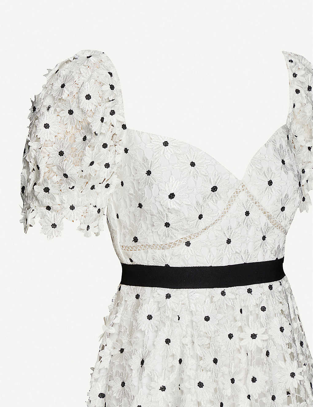 SELF-PORTRAIT Floral-Embroidered Lace Mini Dress