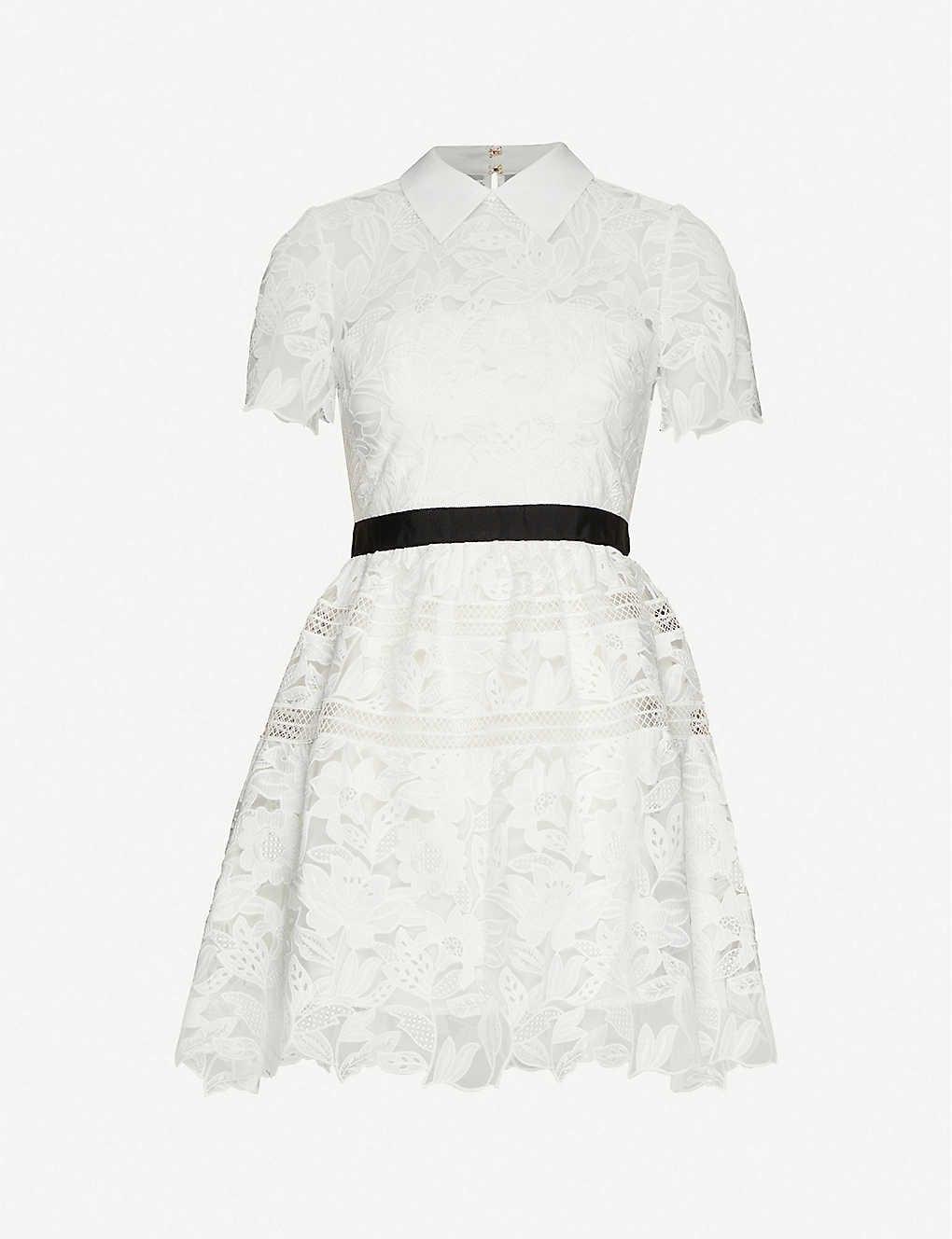 SELF-PORTRAIT Floral-Pattern Lace Mini Dress