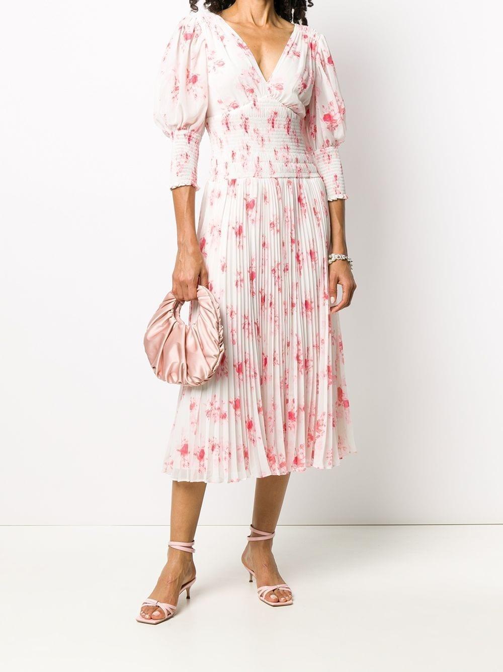 SELF-PORTRAIT Floral Print Pleated Dress