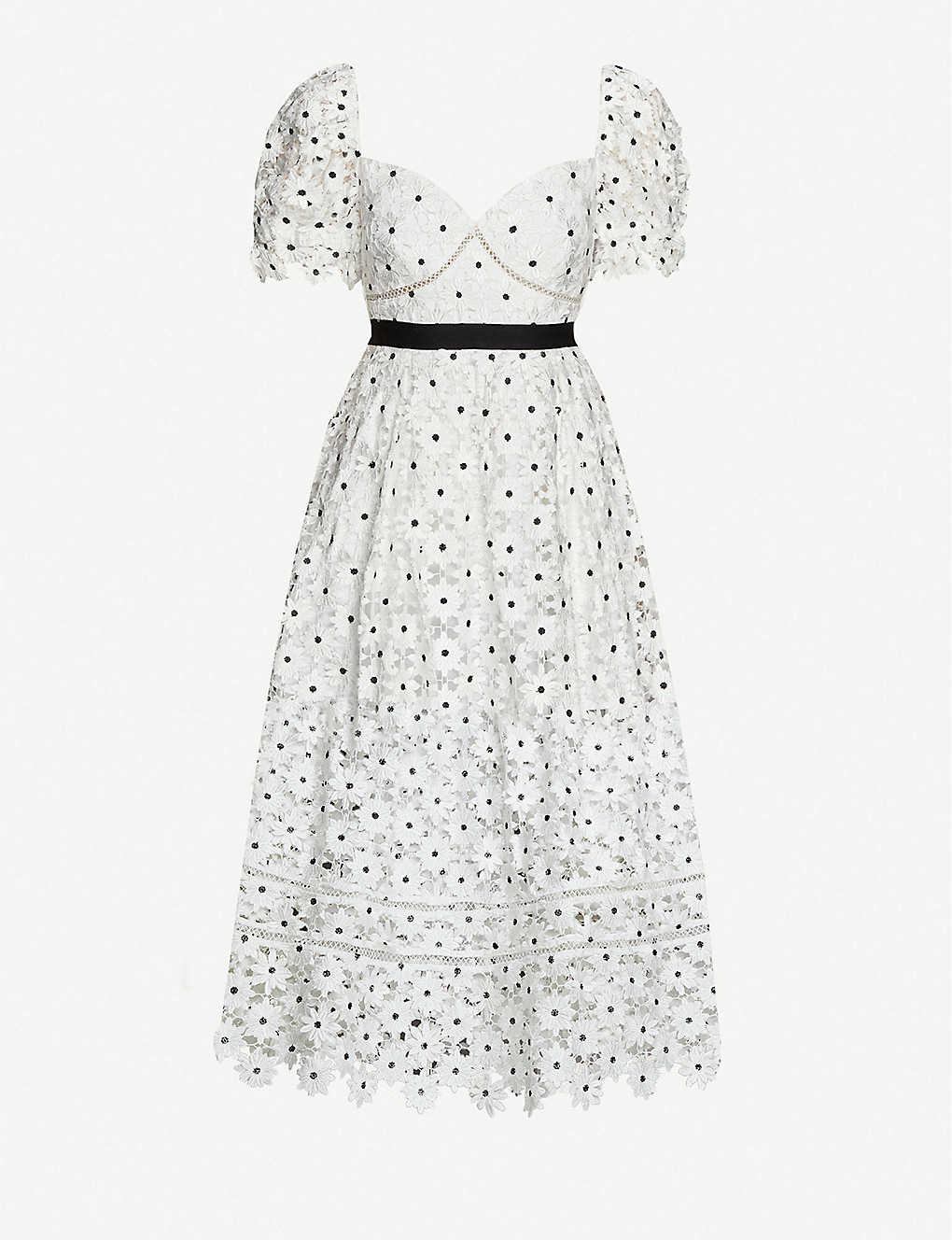 SELF-PORTRAIT Floral-embroidered Lace Midi Dress