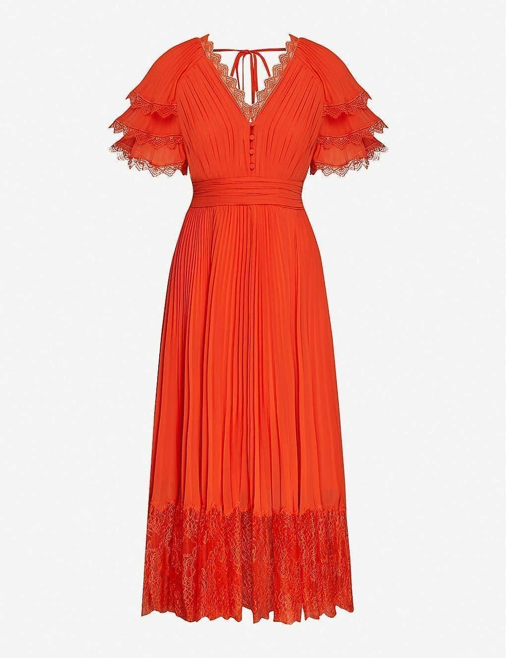 SELF-PORTRAIT Lace-trim Chiffon Midi Dress
