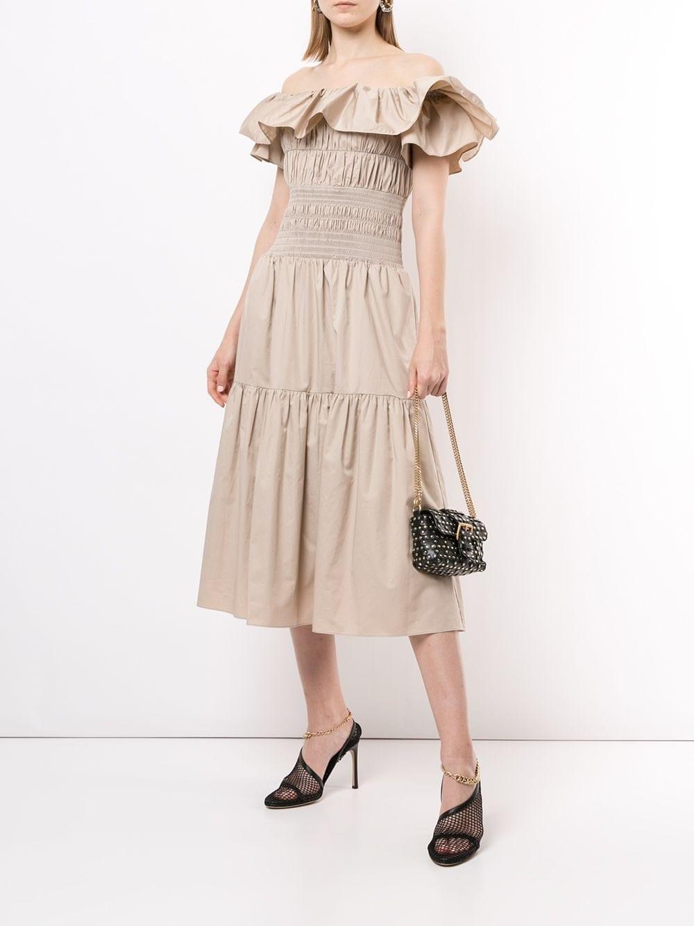 SELF-PORTRAIT Off-shoulder Ruffle-detail Dress