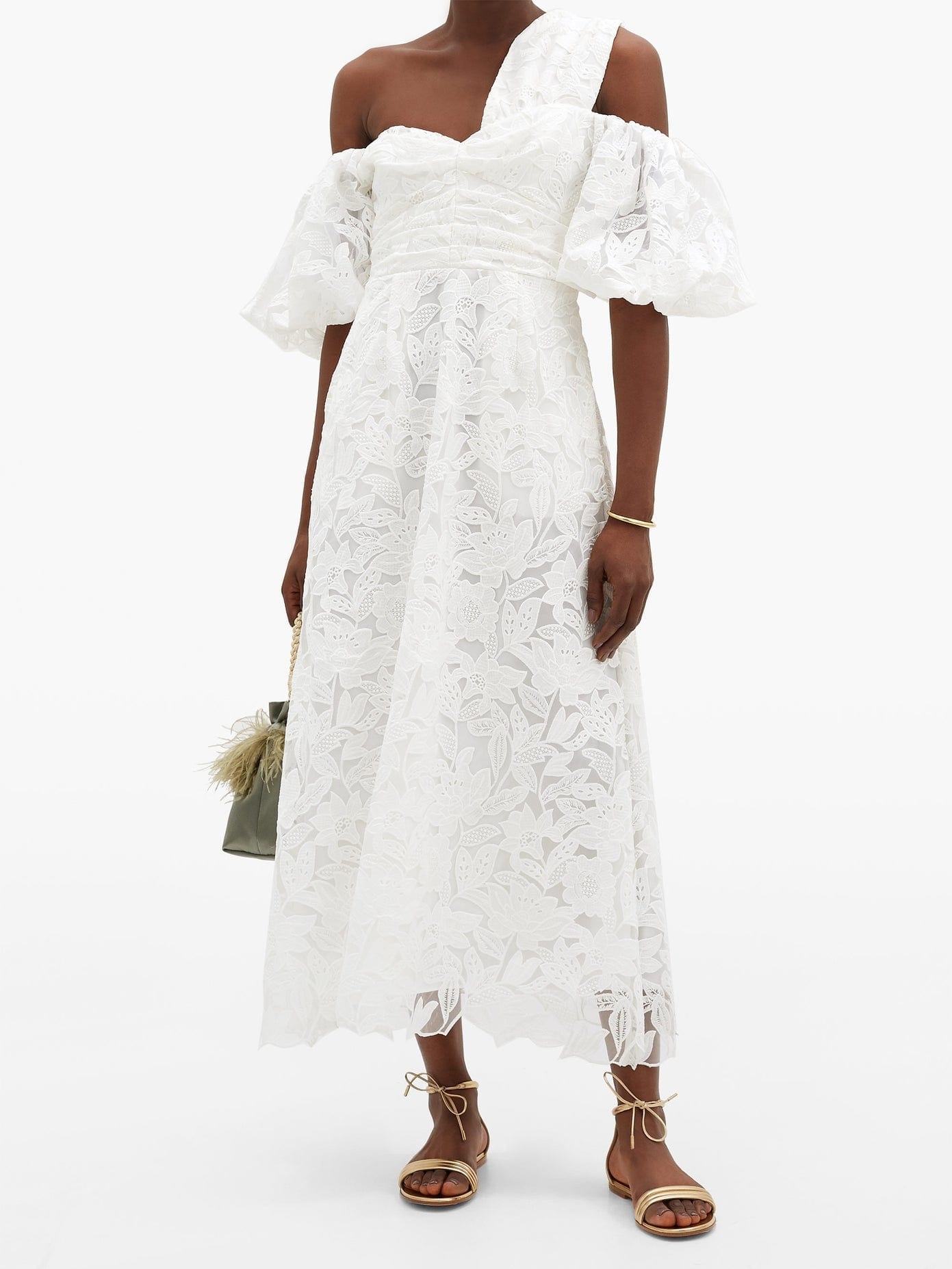 SELF-PORTRAIT Off-the-shoulder Giupure-lace Midi Dress