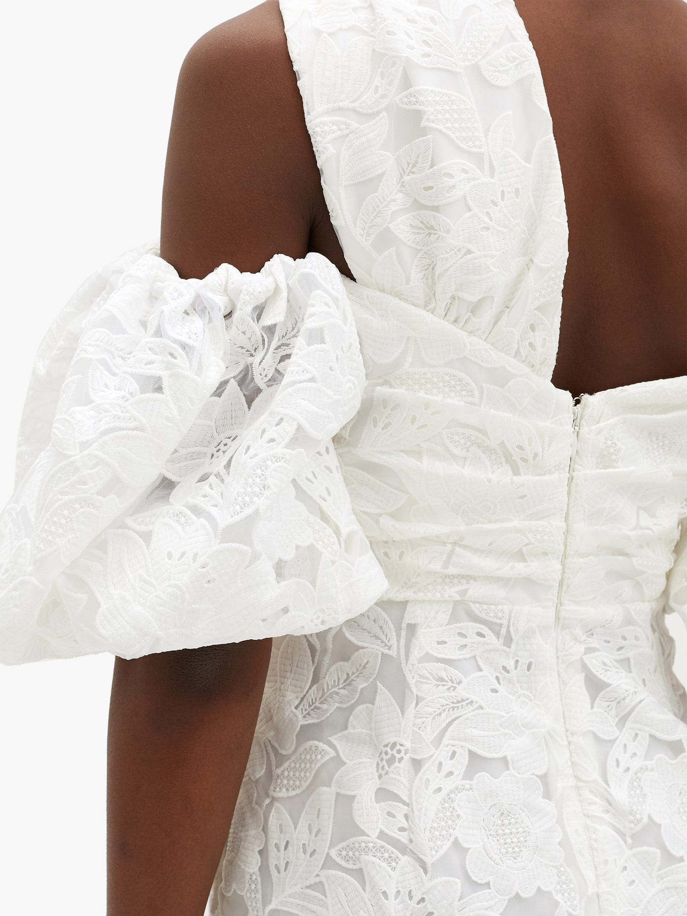 SELF-PORTRAIT Off-the-shoulder Giupure-lace Midi Dress