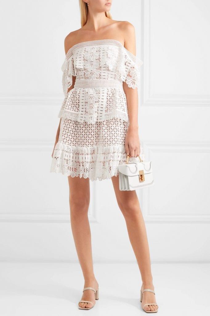 SELF-PORTRAIT Off-the-shoulder Guipure Lace Mini Dress