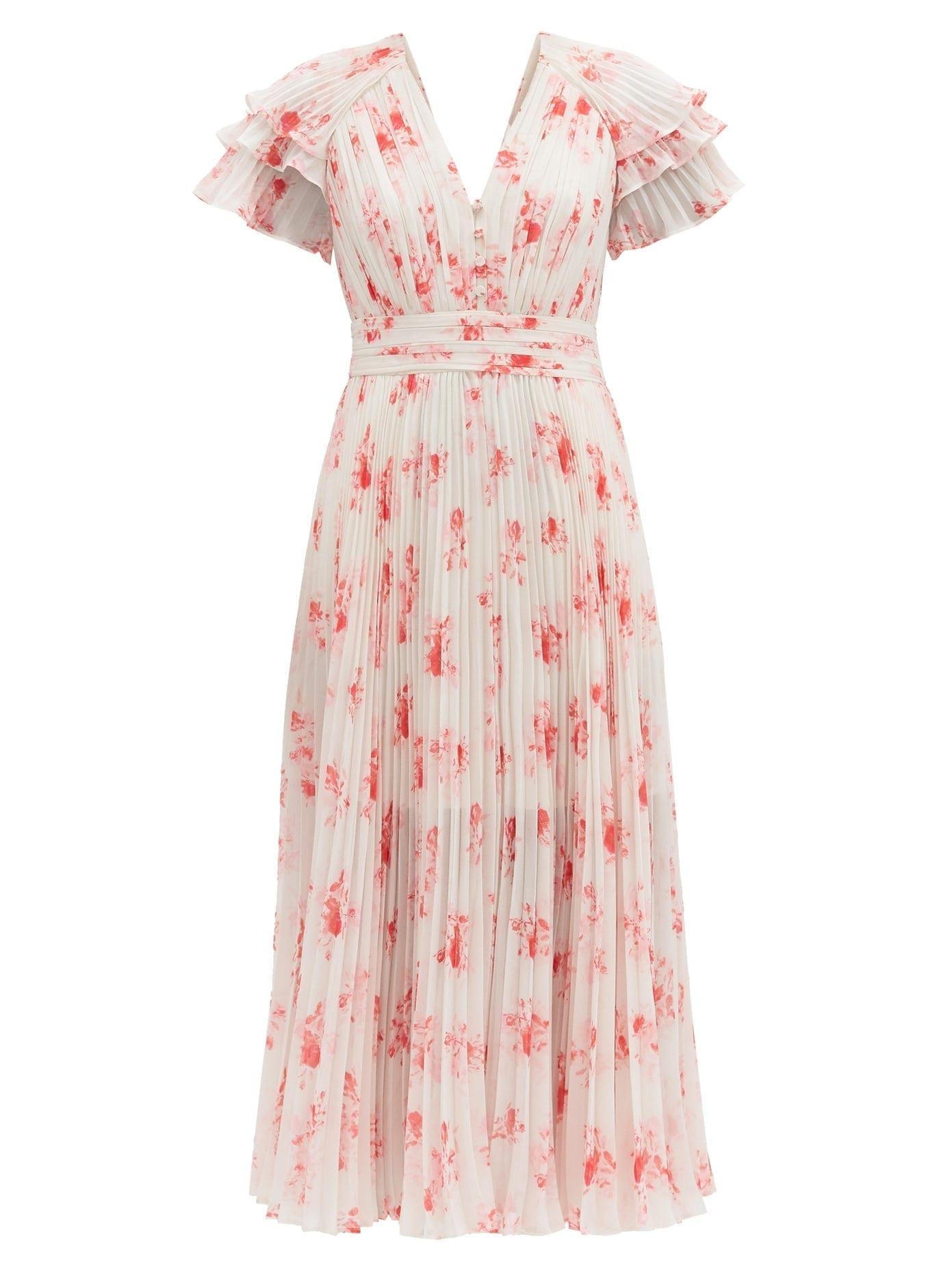 SELF-PORTRAIT Pleated Floral-print V-neck Chiffon Midi Dress