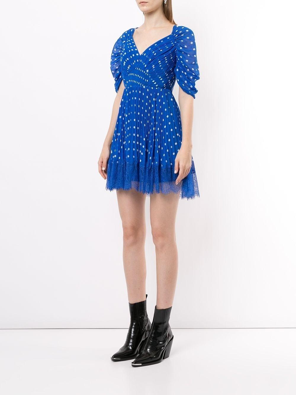 SELF-PORTRAIT Polka-dot Pleated Mini-Dress
