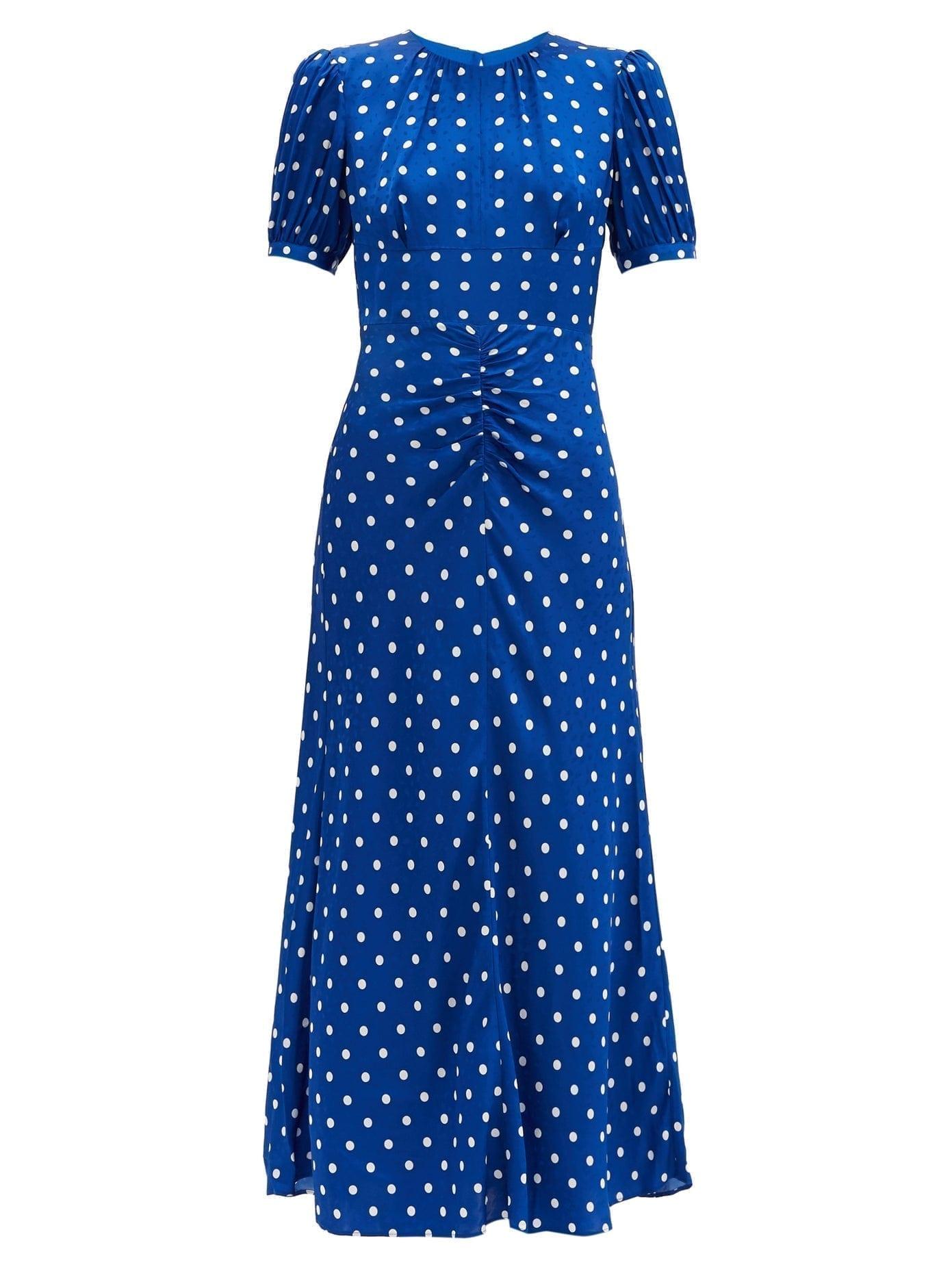 SELF-PORTRAIT Polka-dot Satin Midi Dress