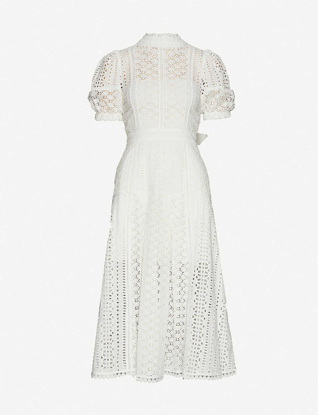 SELF-PORTRAIT Puff-Sleeve Floral-Pattern Cotton Midi Dress