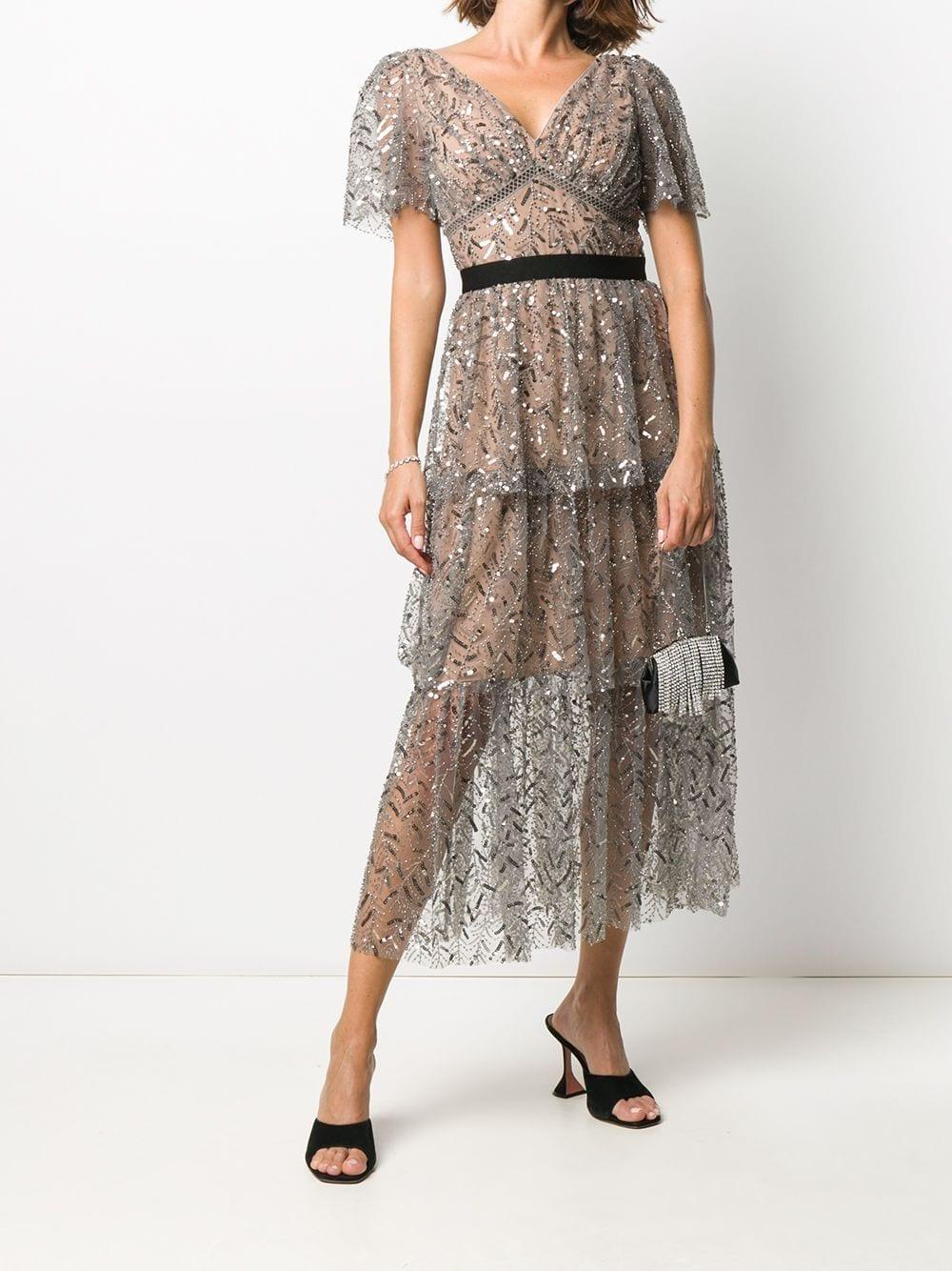 SELF-PORTRAIT Sequin Embellished Gown