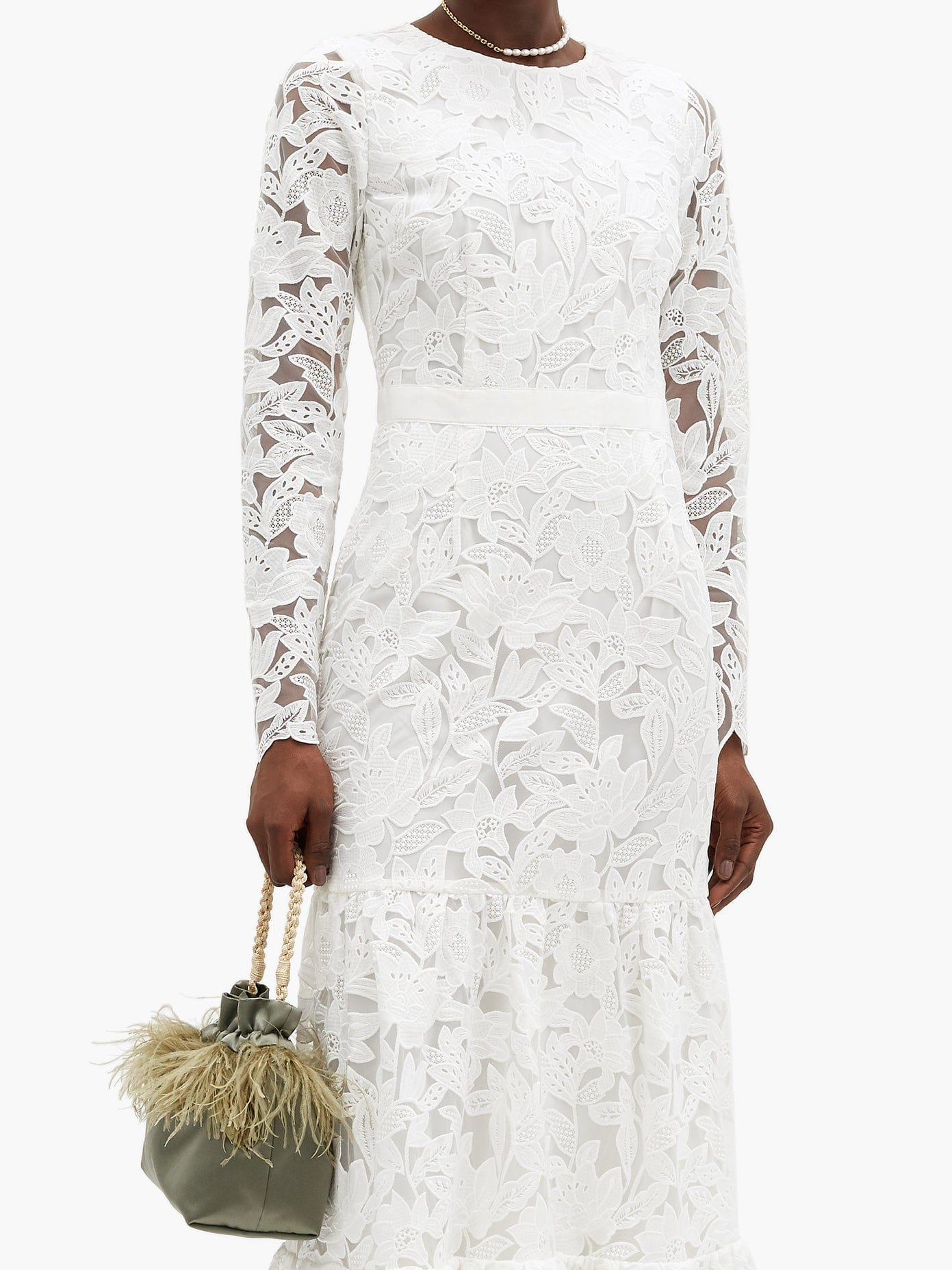 SELF-PORTRAIT Tiered Floral-embroidered Tulle Gown