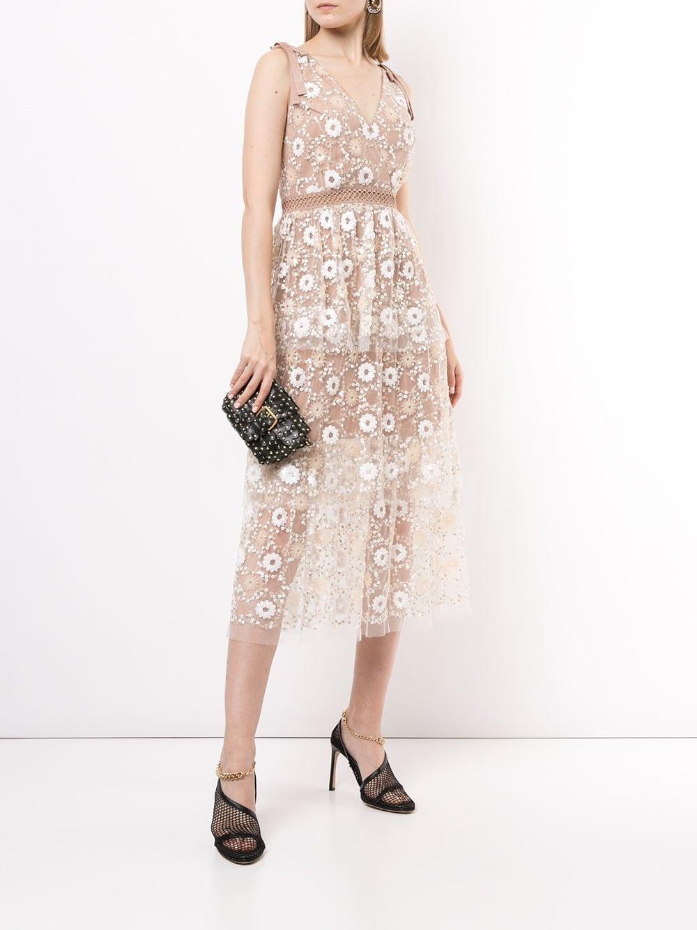 SELF-PORTRAIT Tiered Floral-sequin Dress