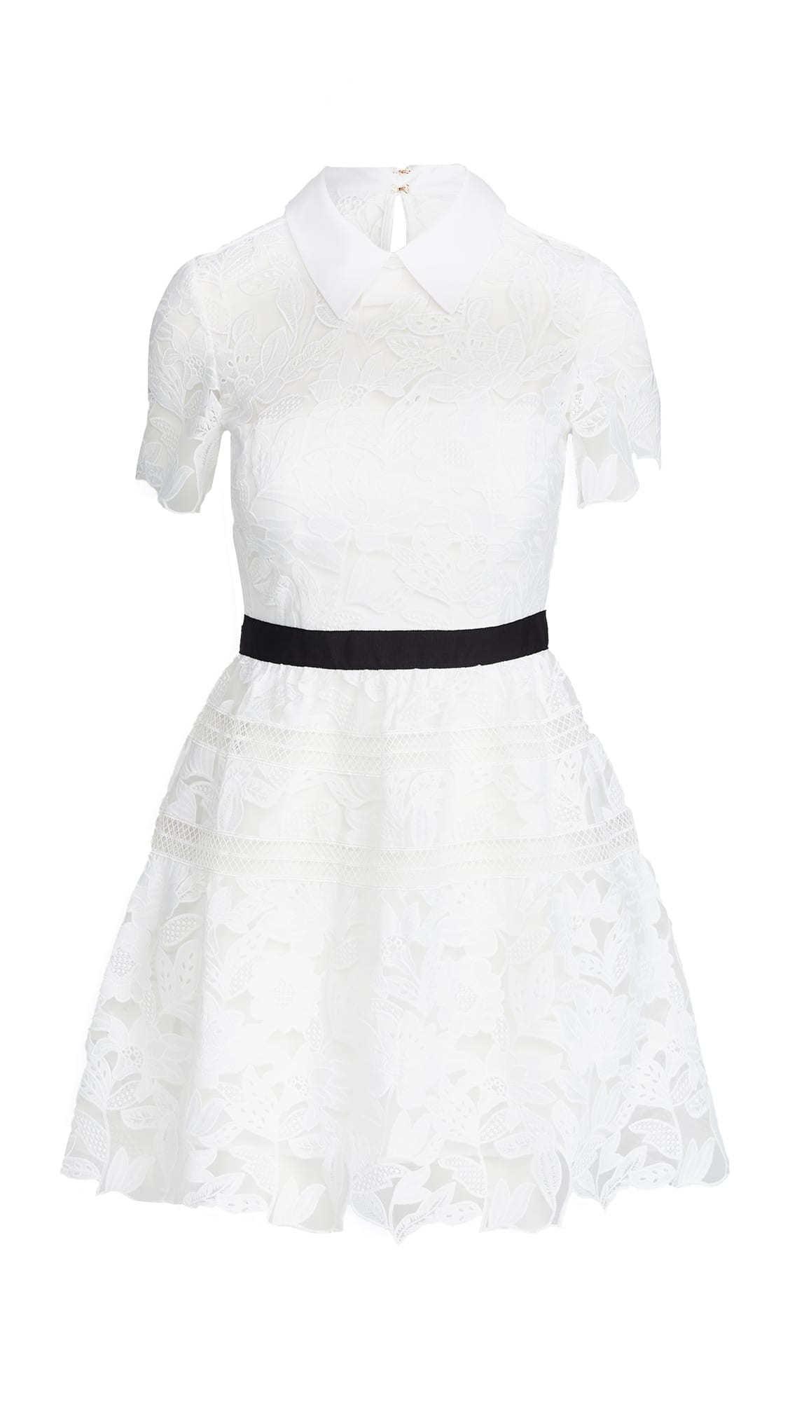 SELF PORTRAIT White Leaf Guipure Mini Dress