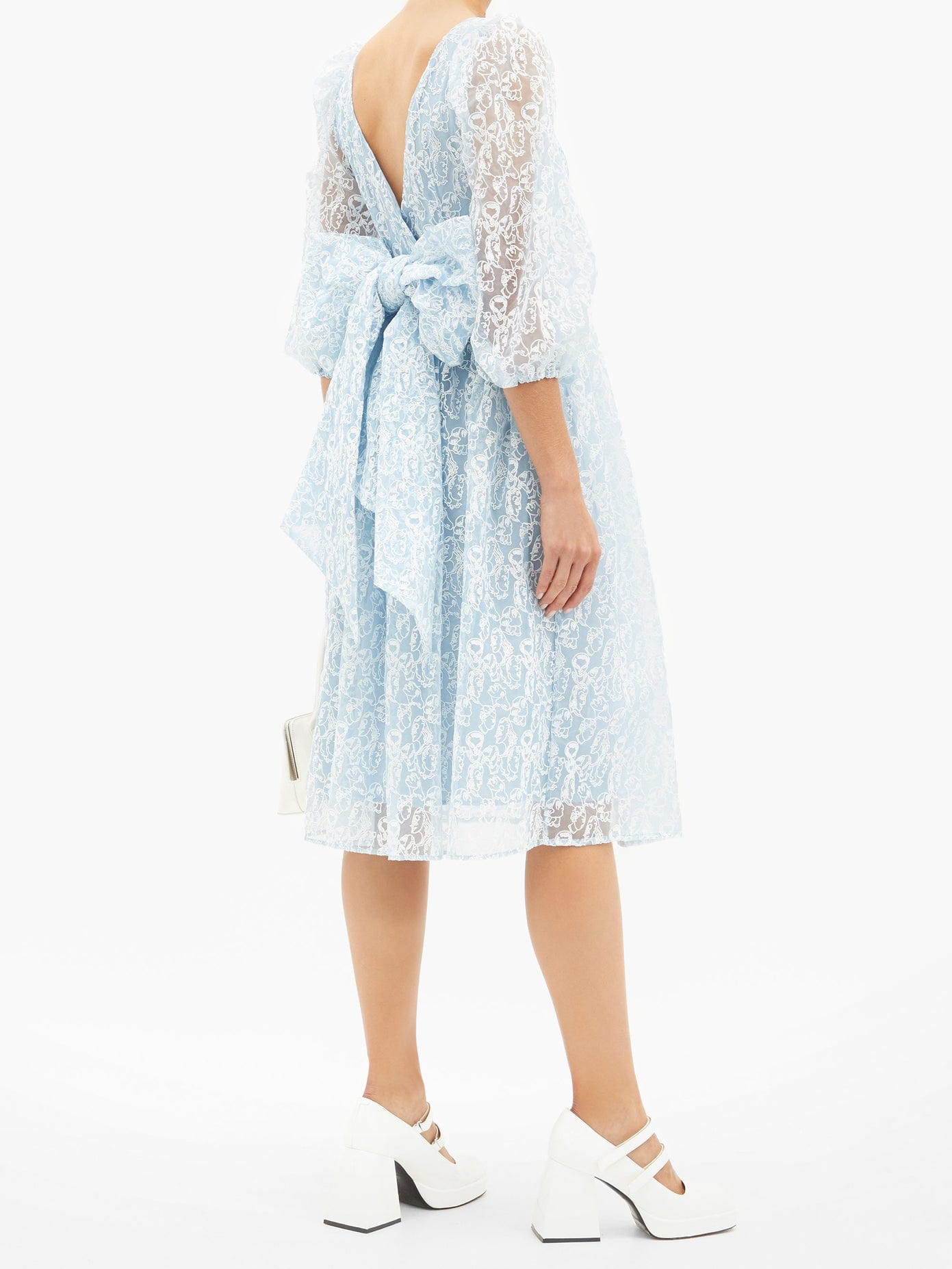 SHRIMPS Fredrick Face-embroidered Bow-trim Organza Dress