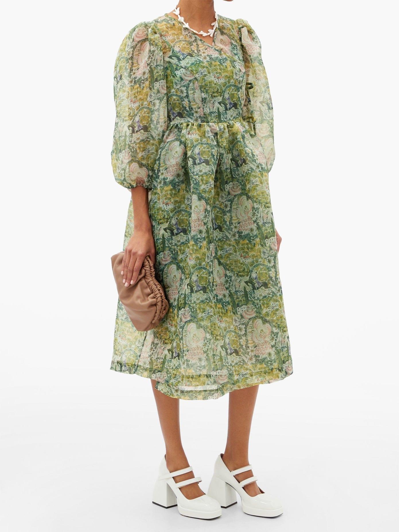 SHRIMPS Titania Floral-print Organza Wrap Dress
