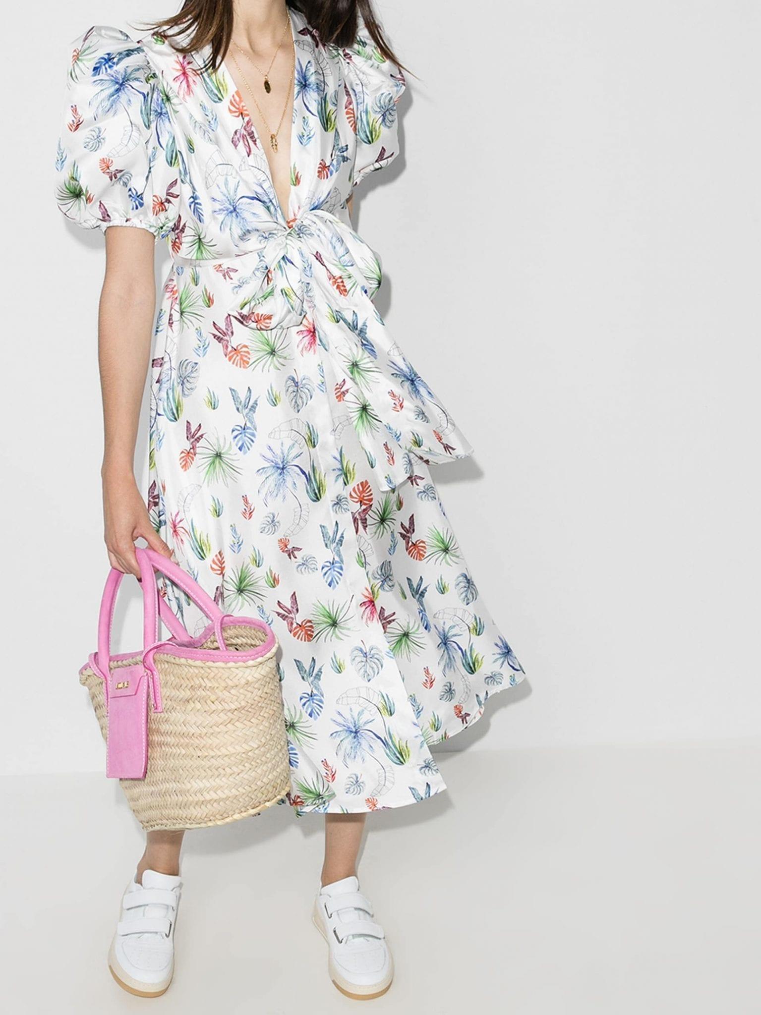 SILVIA TCHERASSI Leaf Print Puff Sleeve Silk Dress