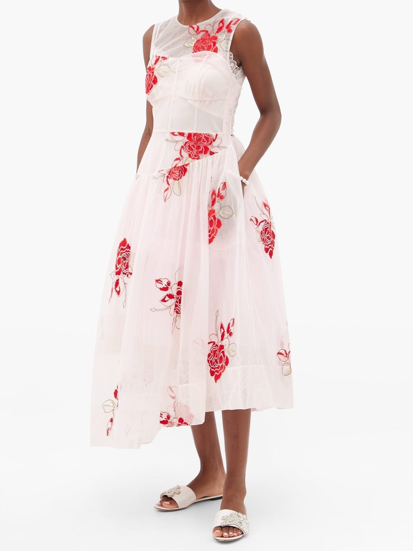 SIMONE ROCHA Asymmetric Floral-embroidered Tulle Midi Dress