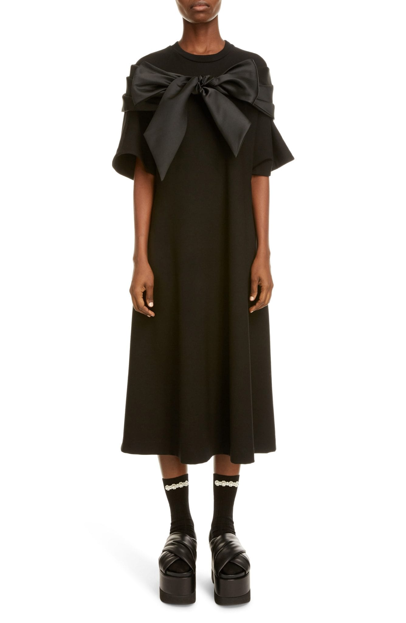 SIMONE ROCHA Bow Detail Midi T-Shirt Dress