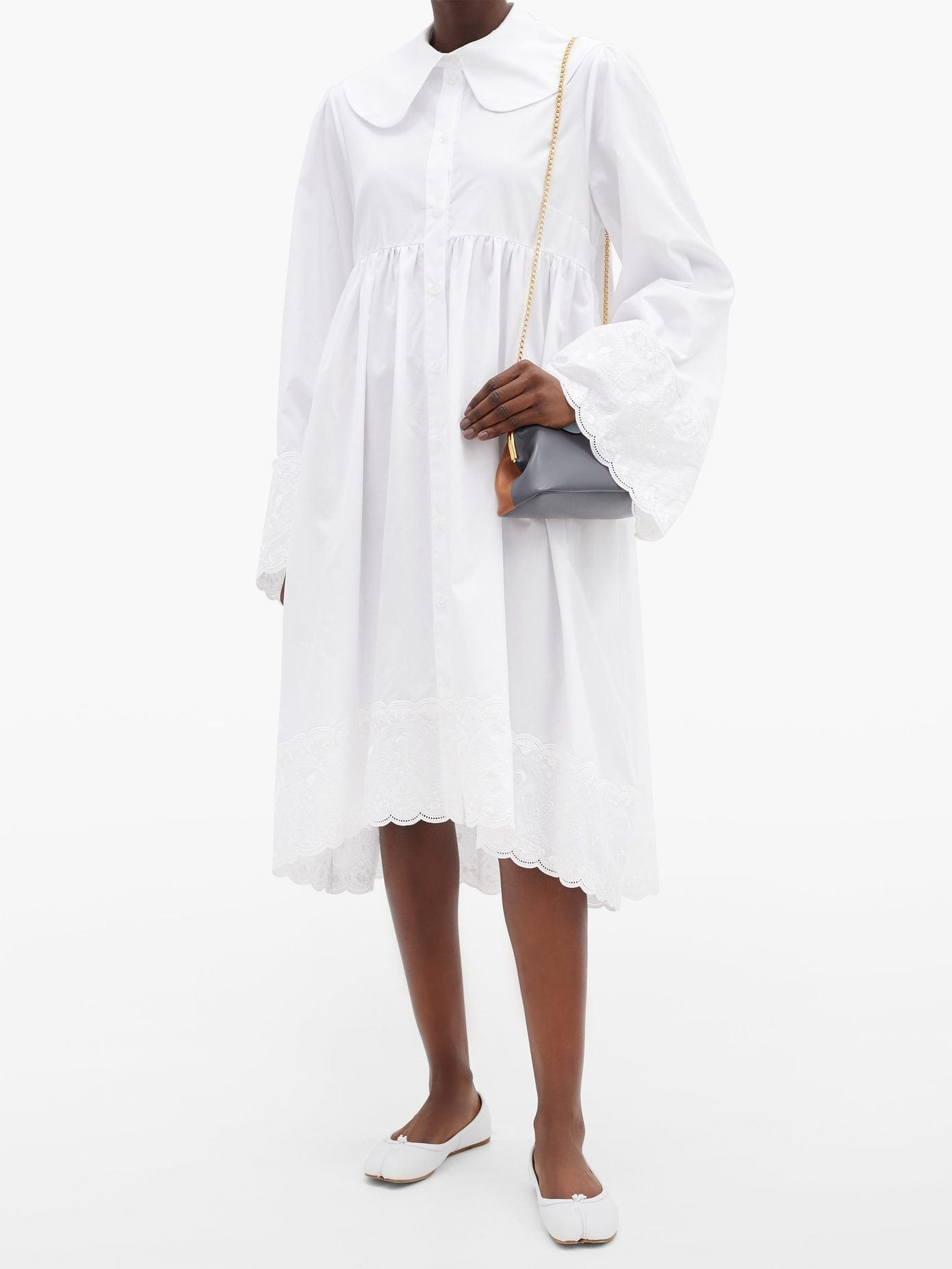 SIMONE ROCHA Floral-embroidered Cotton-poplin Shirt Dress