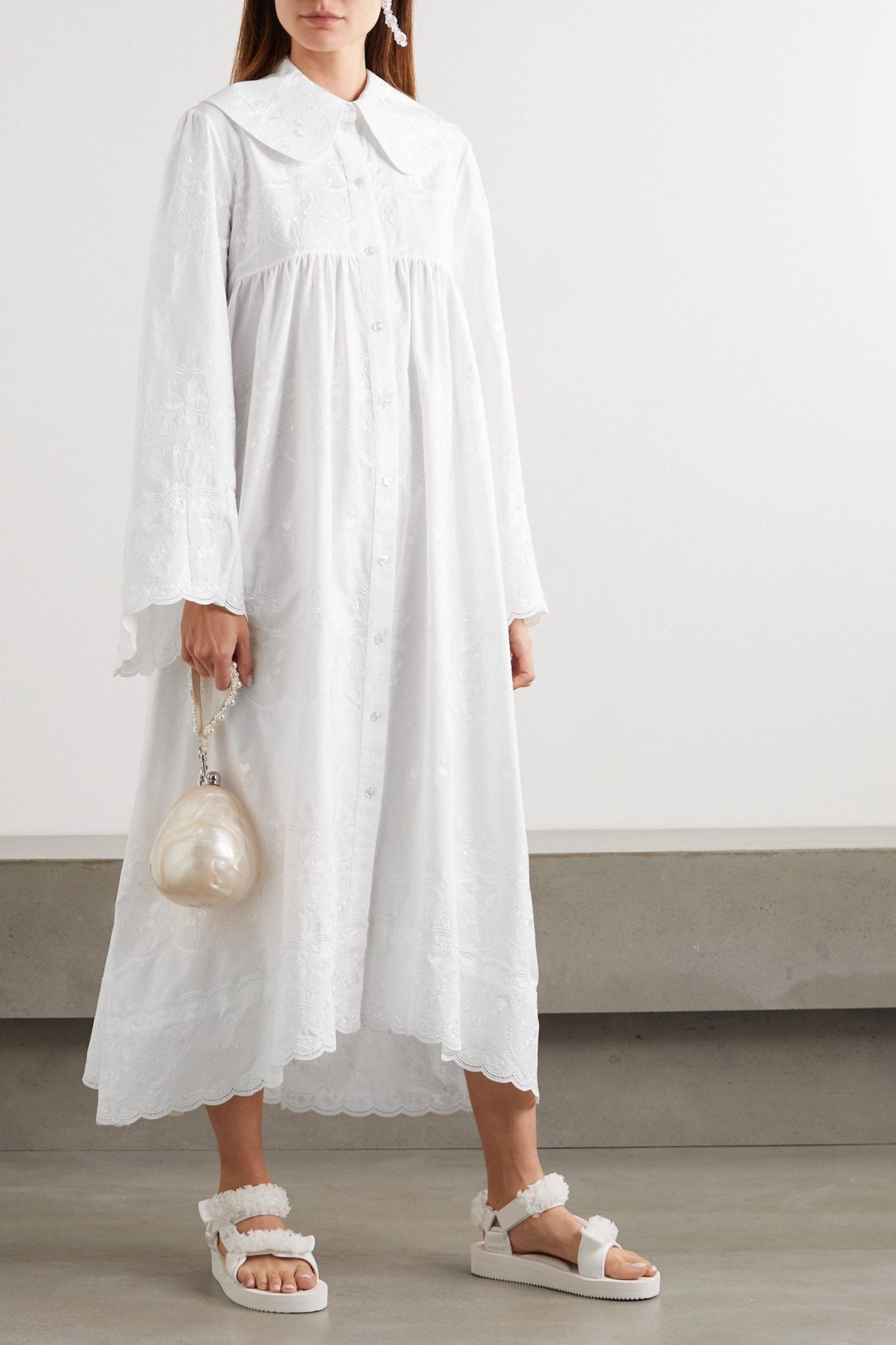 SIMONE ROCHA Scalloped Embroidered Cotton-poplin Maxi Dress
