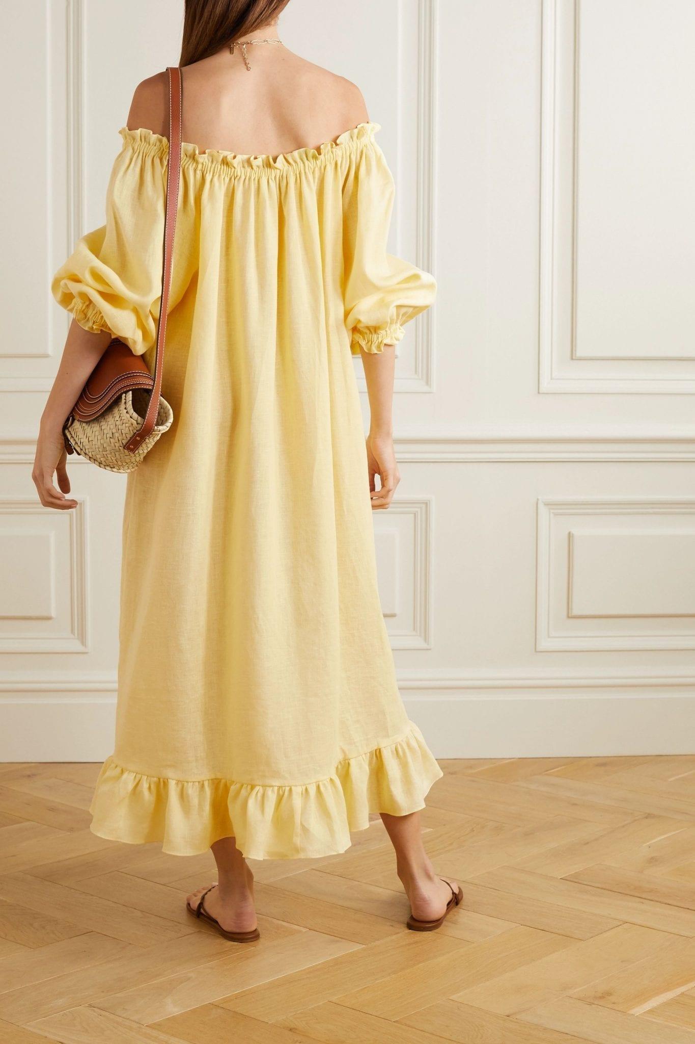 SLEEPER Ruffled Linen Midi Dress
