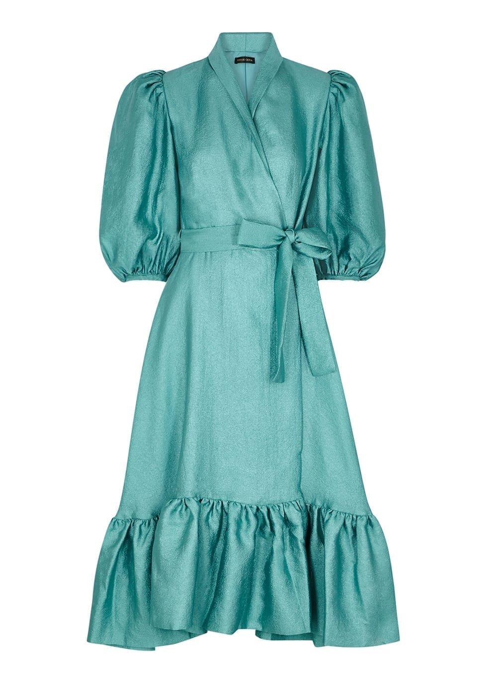 STINE GOYA Chinie Metallic Aqua Wrap Dress