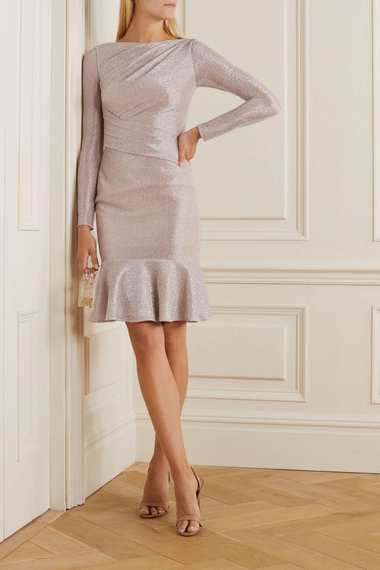 TALBOT RUNHOF Ruched Metallic Voile Dress