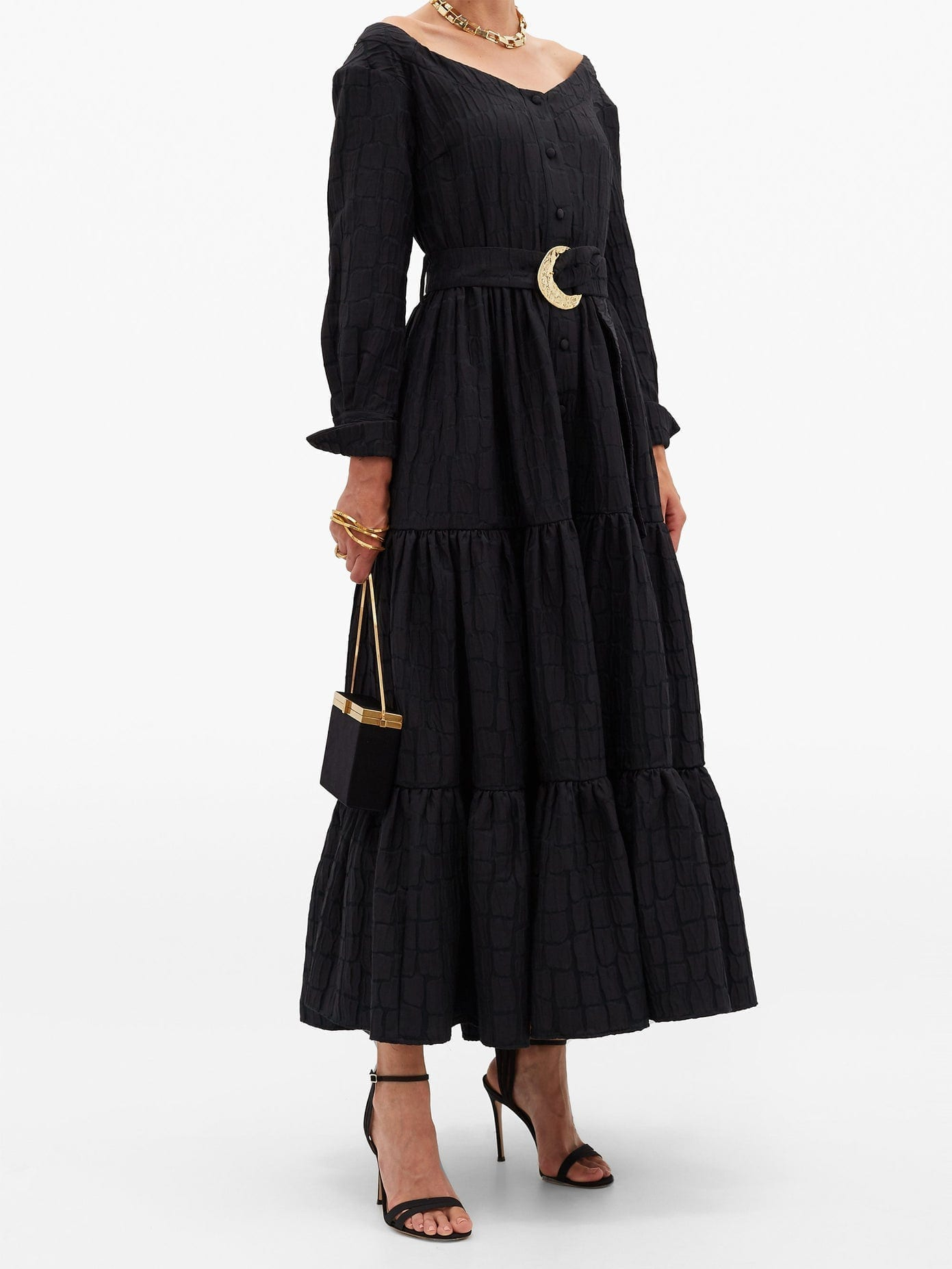 TALLER MARMO Margherita Belted Jacquard Midi Dress