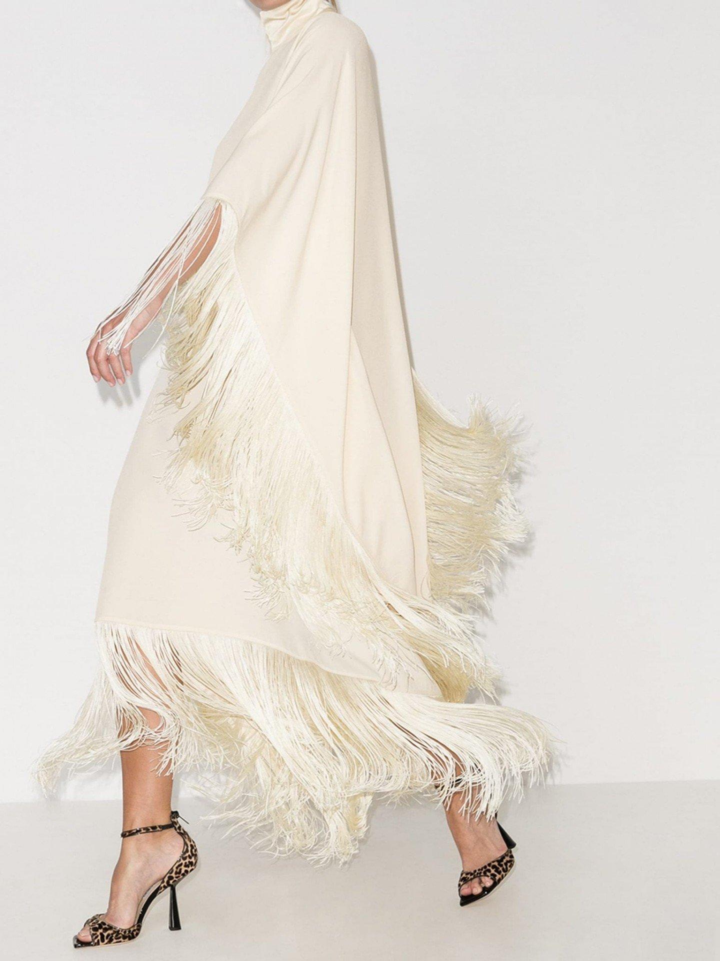 TALLER MARMO Mrs. Ross Tassel Trim Kaftan Dress