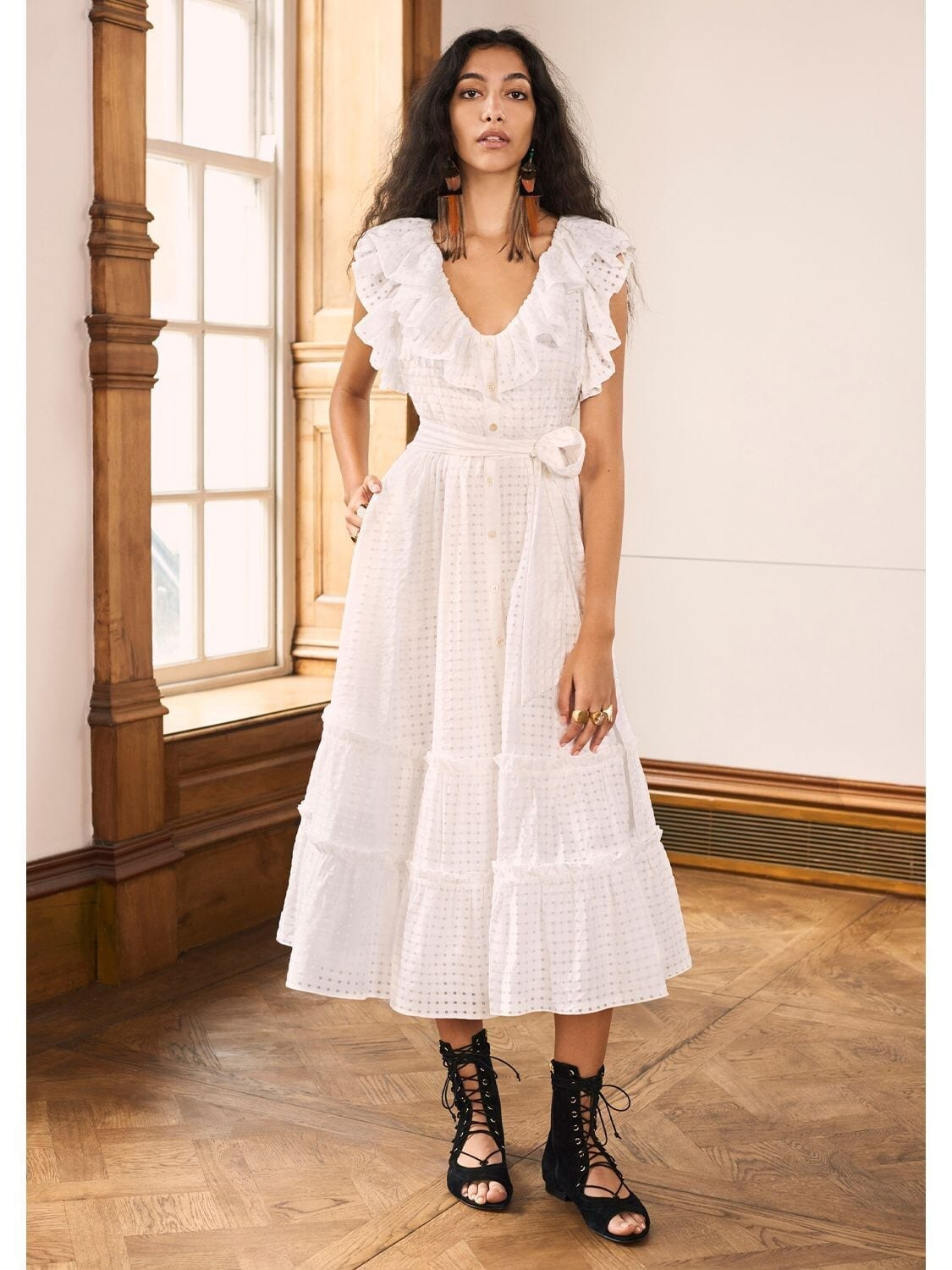 TEMPERLEY LONDON Ruffled Gingham Midi Dress
