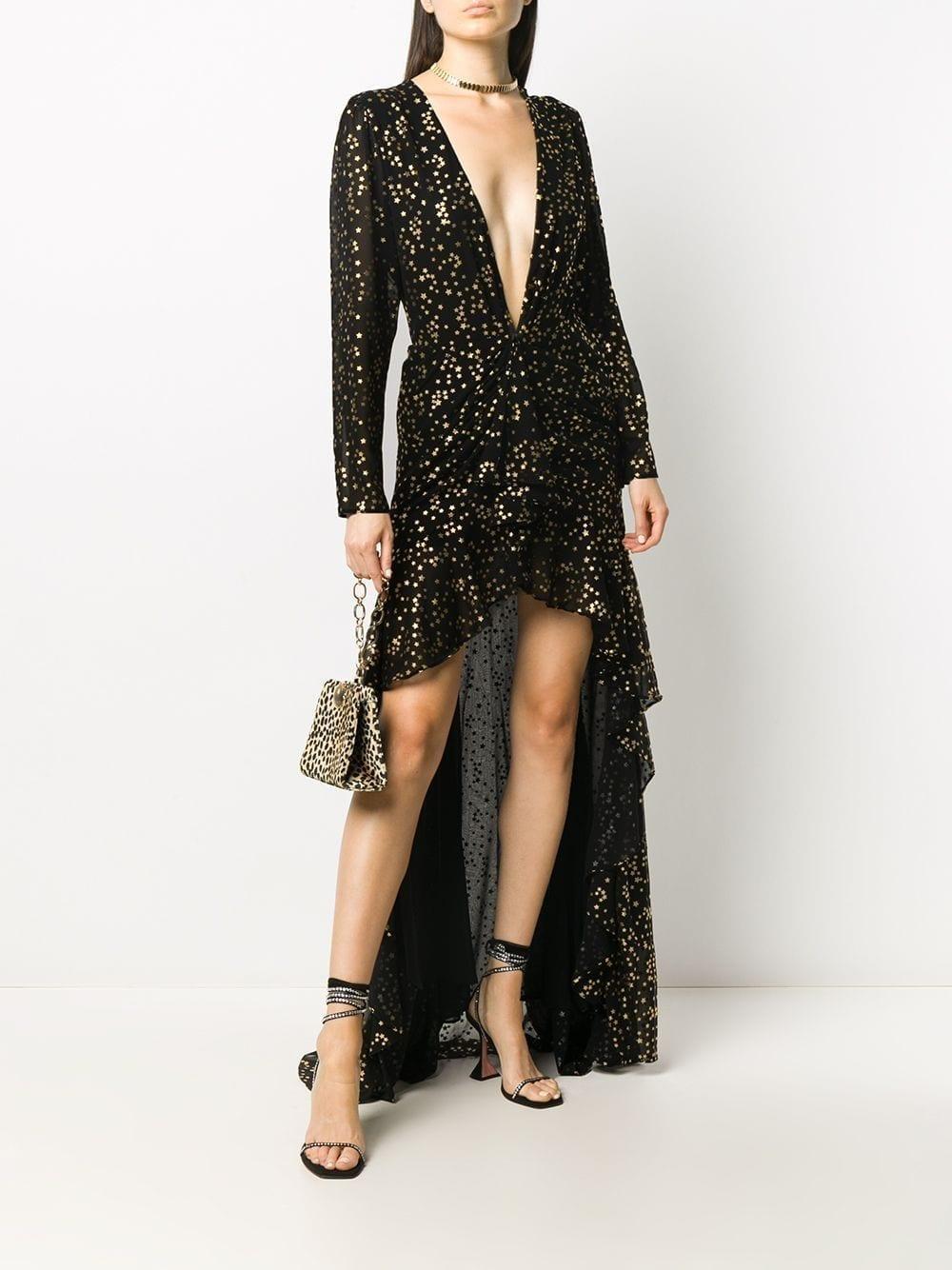 THE ATTICO Star-print Plunge-neck Dress