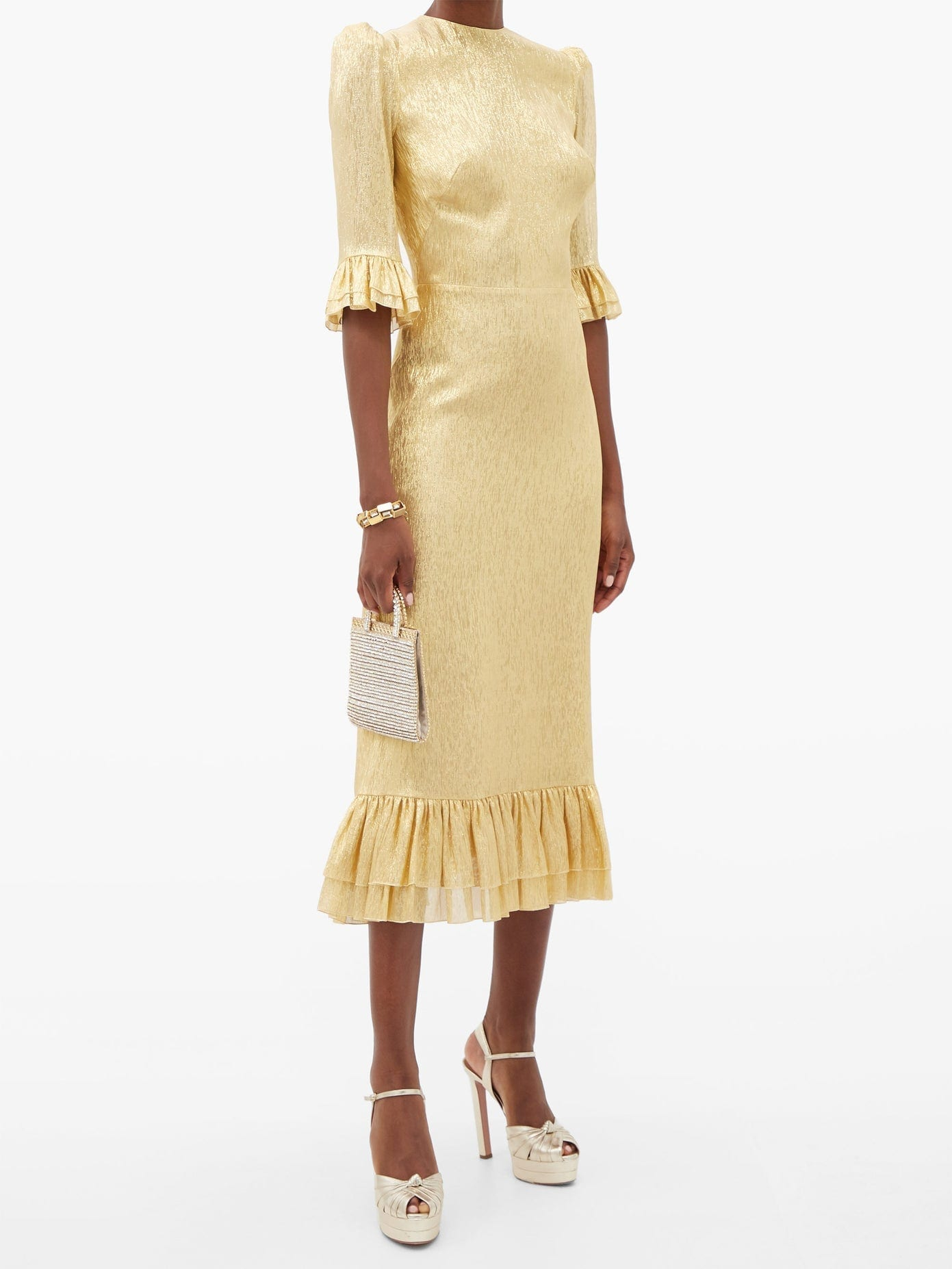THE VAMPIRE'S WIFE The Falconetti Ruffled Metallic-chiffon Midi Dress
