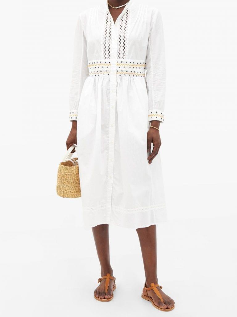 THIERRY COLSON Rebecca Floral Lace-trimmed Cotton Shirt Dress