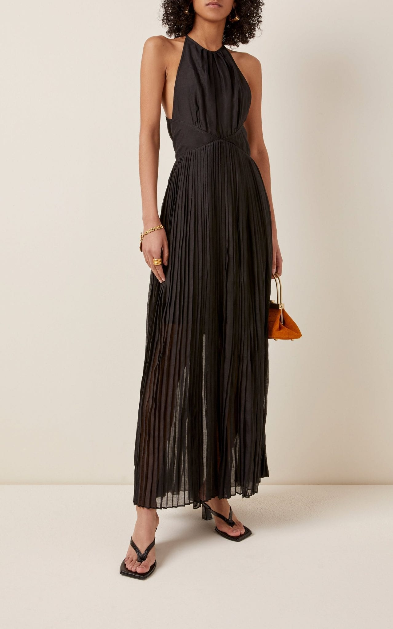 THIERRY COLSON Vanessa Pleated Cotton-Silk Maxi Halter Dress